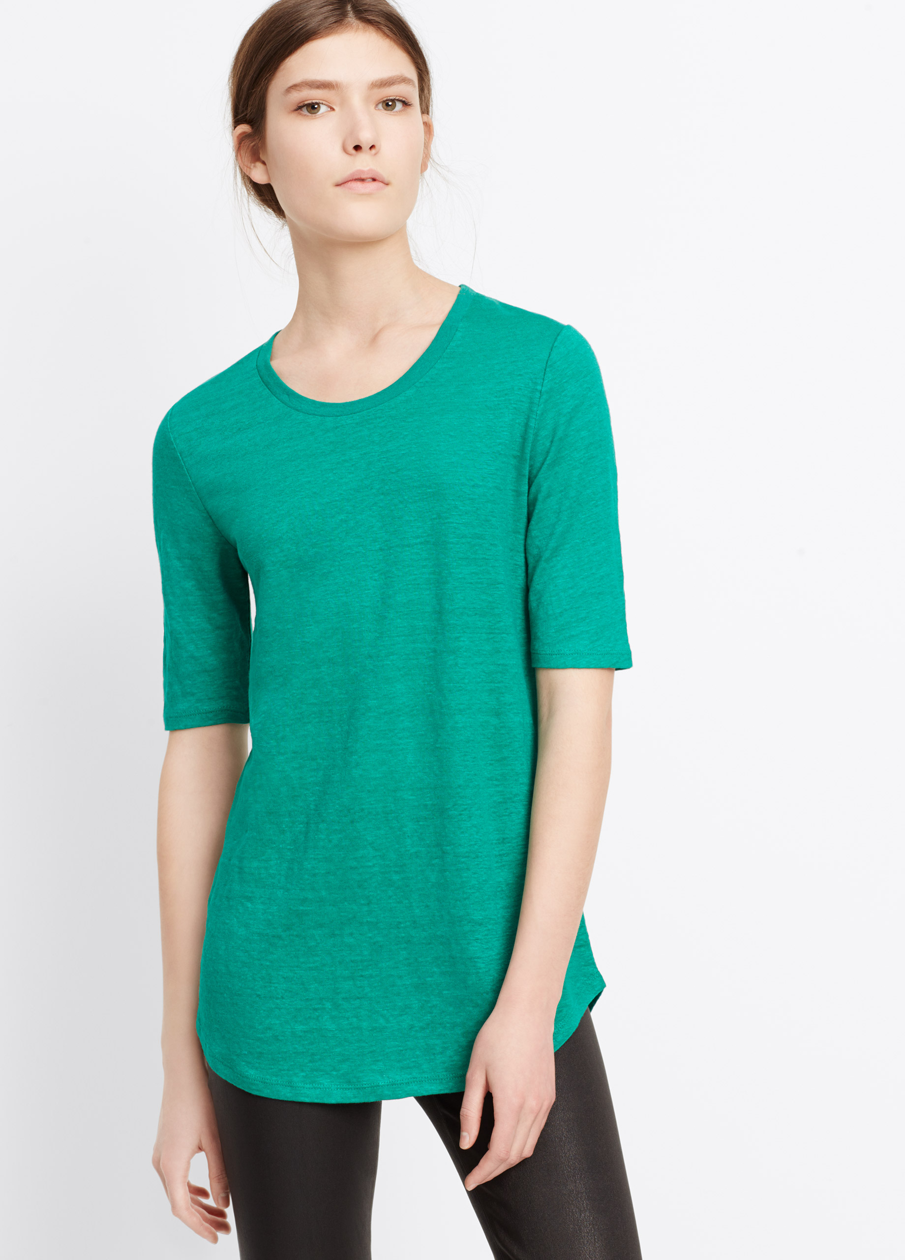 e0396cff Vince Elbow Sleeve Linen Tee in Green - Lyst