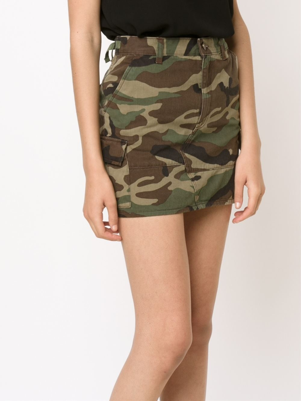 Saint Laurent Mini Camouflage Skirt In Green Lyst