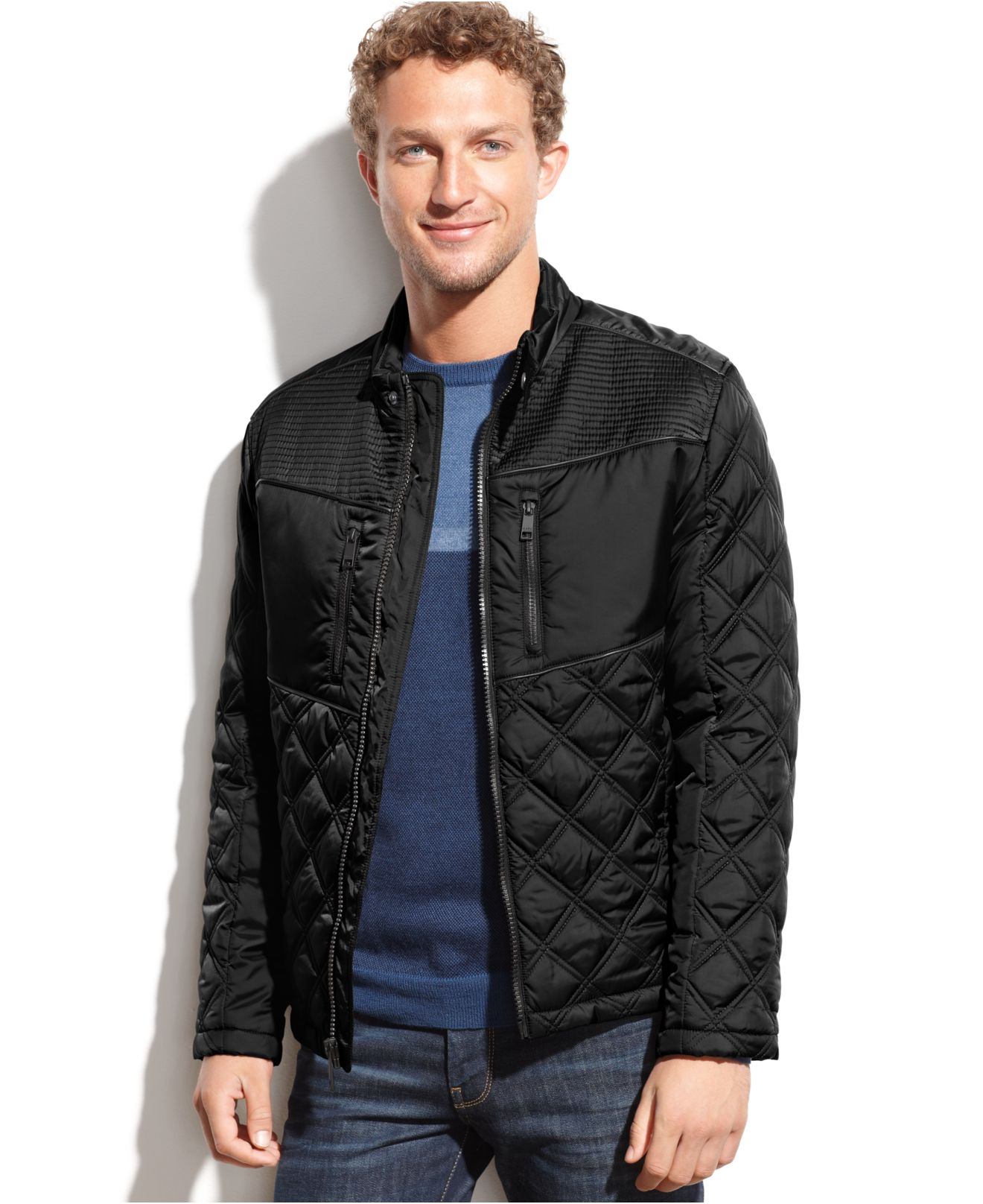 Marc New York Park Quilted Faux Leather Trim Jacket In