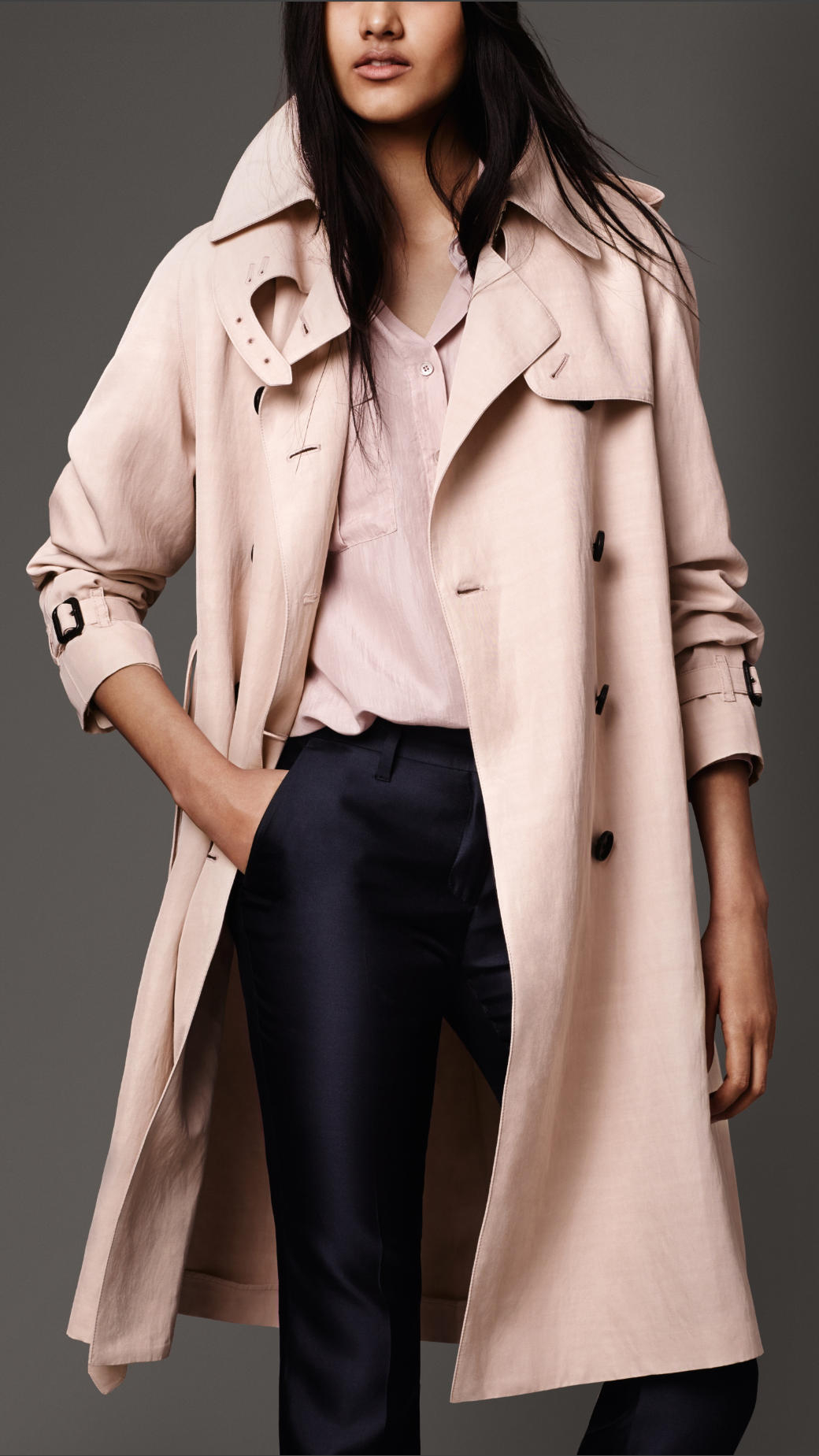 Burberry Showerproof Cotton Blend Trench Coat in Pink