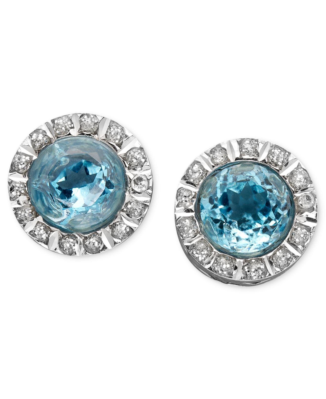 Macy s 14K White Gold Earrings Blue Topaz 6 Ct T W And