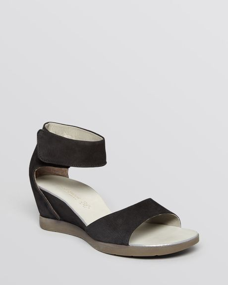 paul green open toe wedge sandals tammy in black lyst