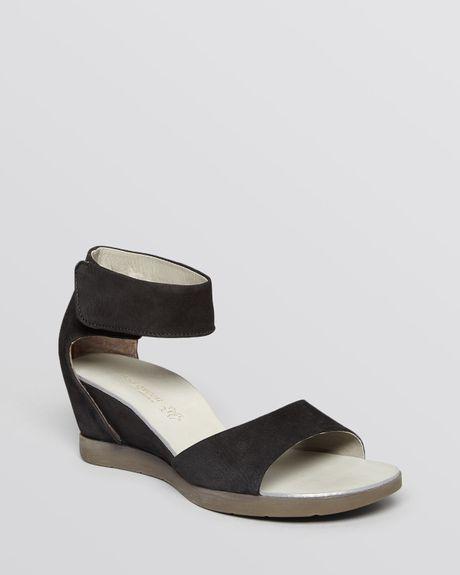 paul green open toe wedge sandals tammy in black lyst