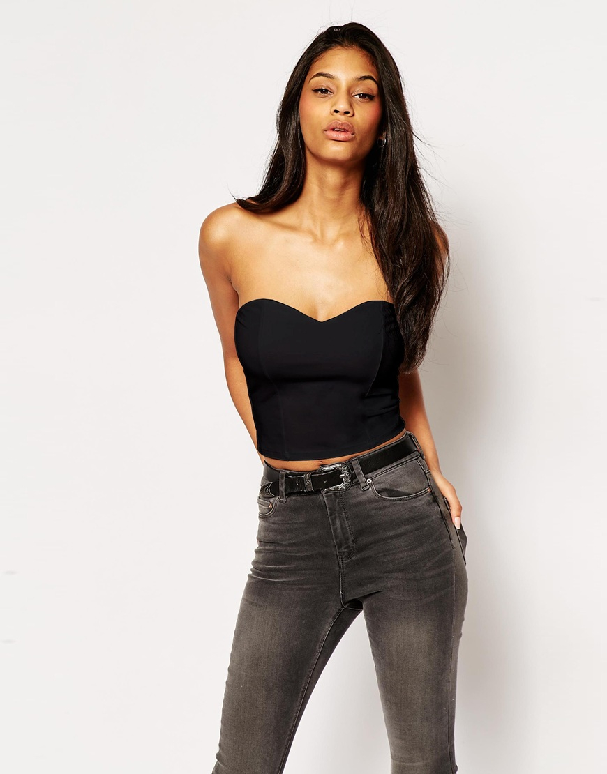 asos bandeau top with sweetheart neckline in black lyst. Black Bedroom Furniture Sets. Home Design Ideas