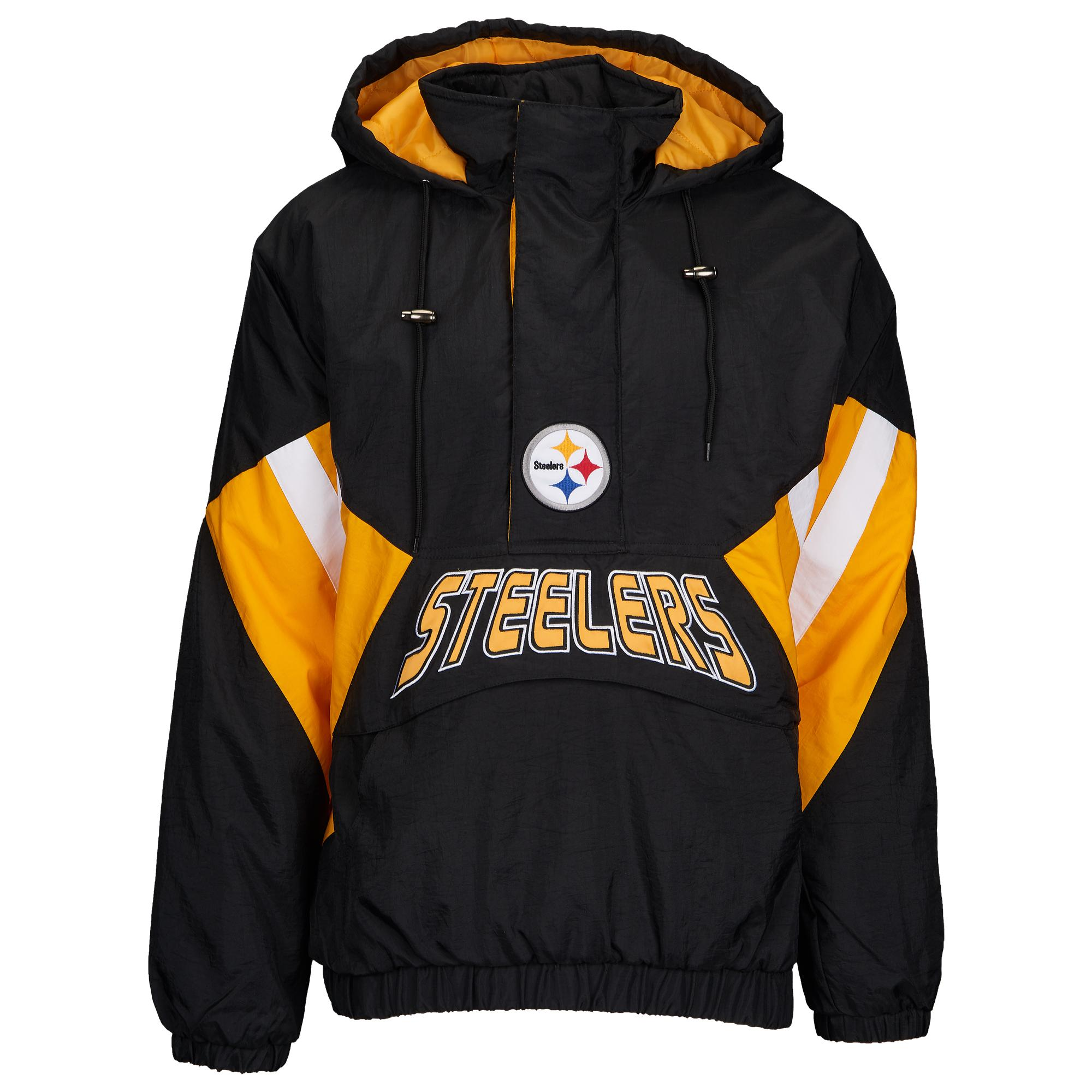 new arrival 0551f 5c4be Men's Black Pittsburgh Steelers Nfl 1/2 Zip Hooded Pullover Jacket