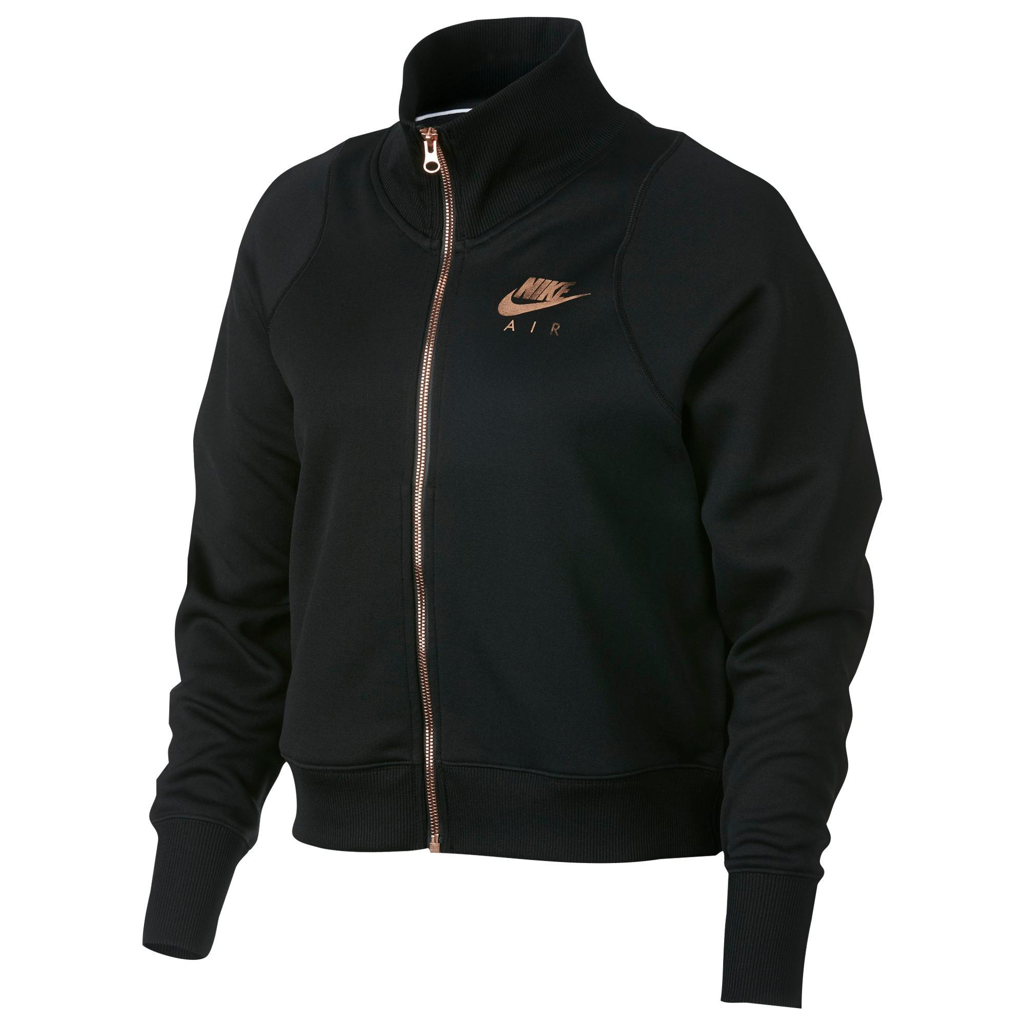 Nike Rose Gold Metallic Air Track Jacket In Black Lyst