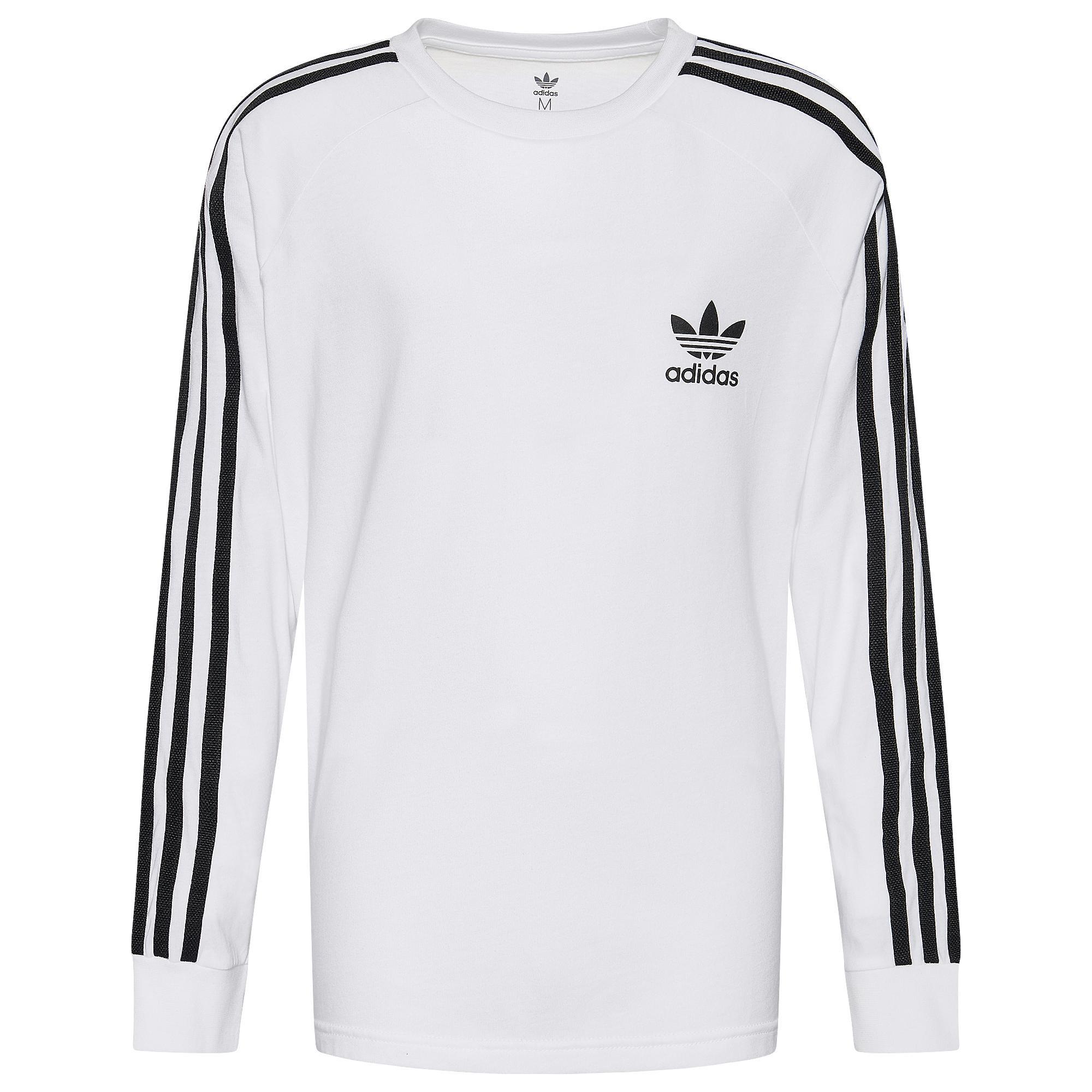 Adidas Originals Long Sleeve 3 Stripes T Shirt WhiteBlack