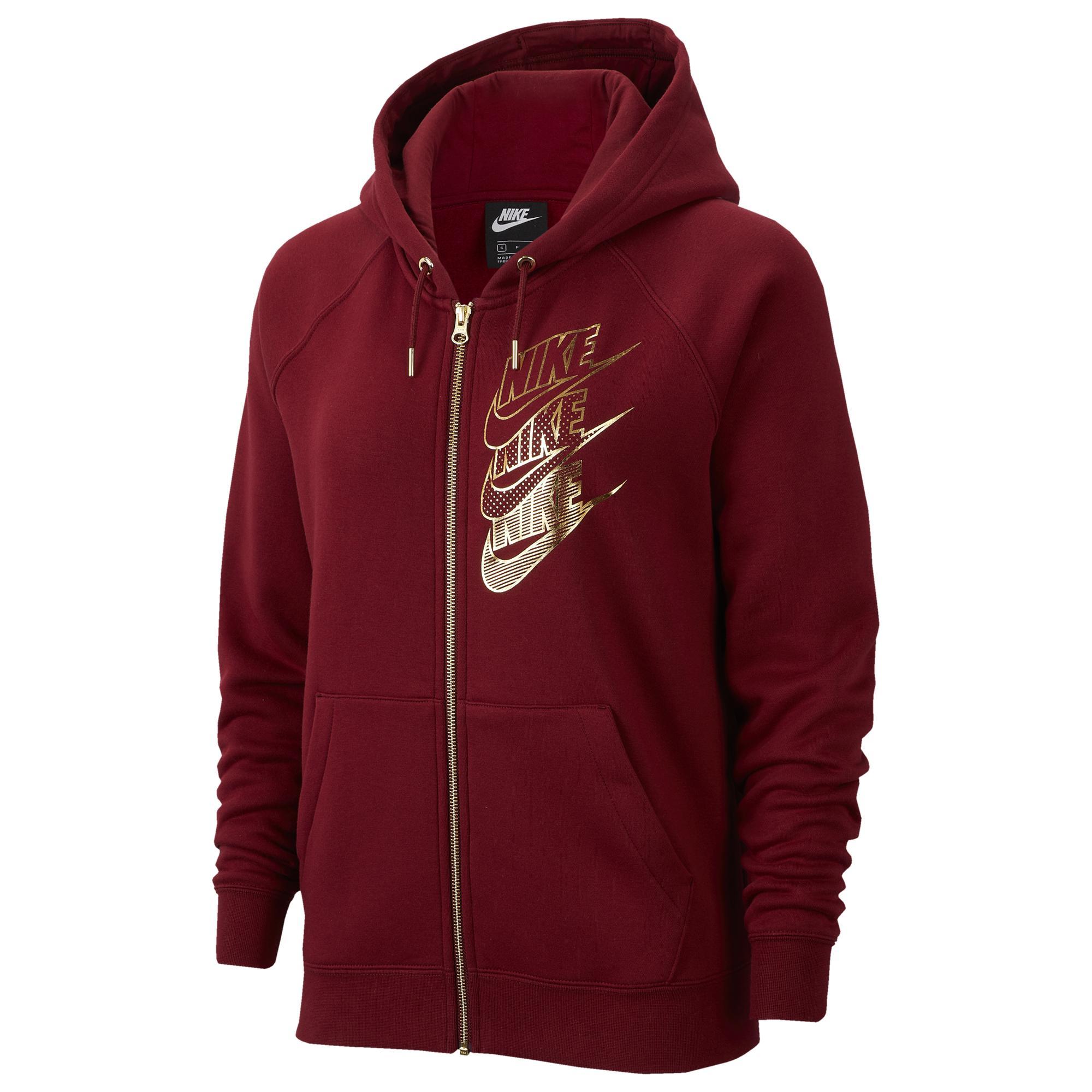 Nike Sportswear Full Zip Hoodie Women team red metallic gold