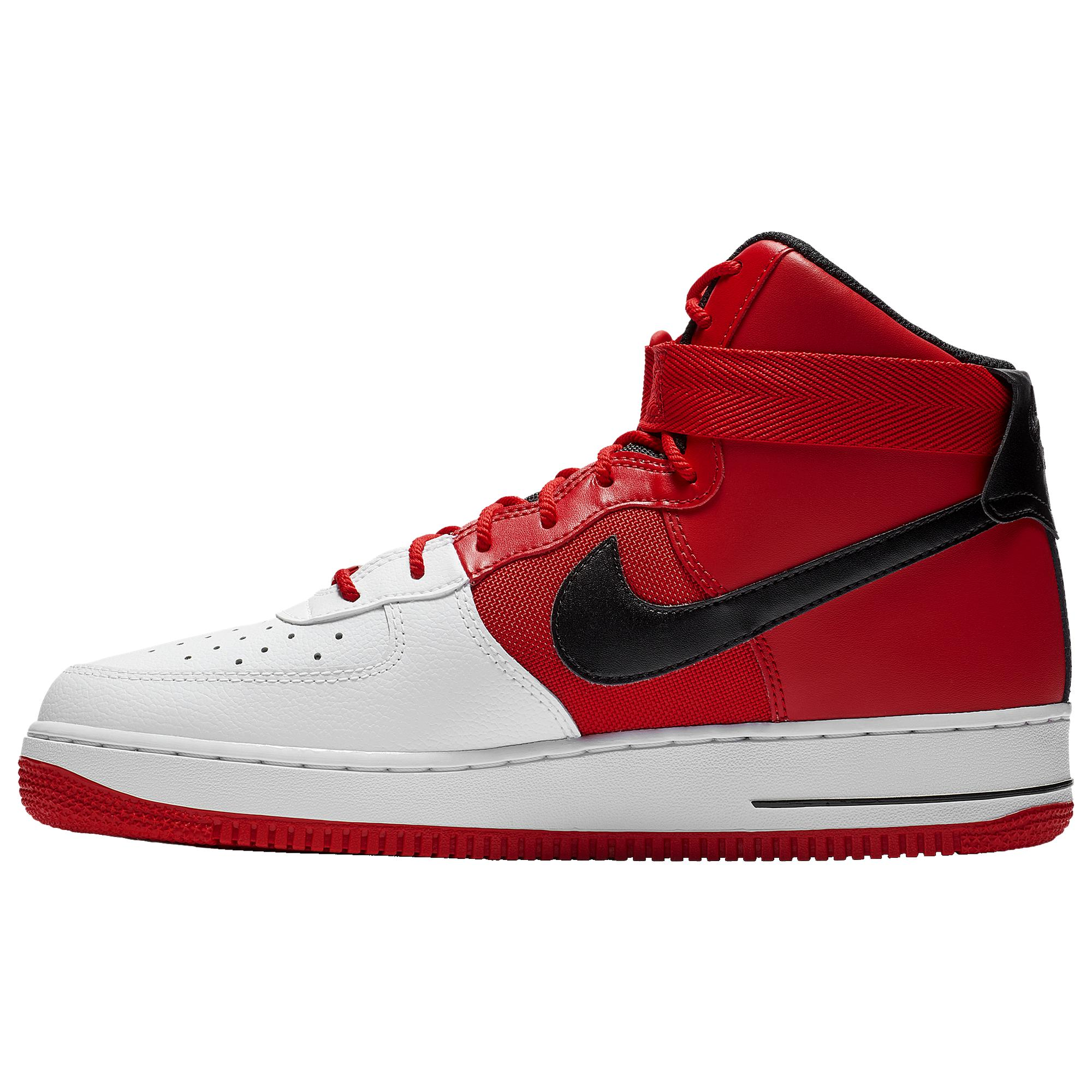 Nike Leather Air Force 1 High Lv8 Basketball Shoes In White Red