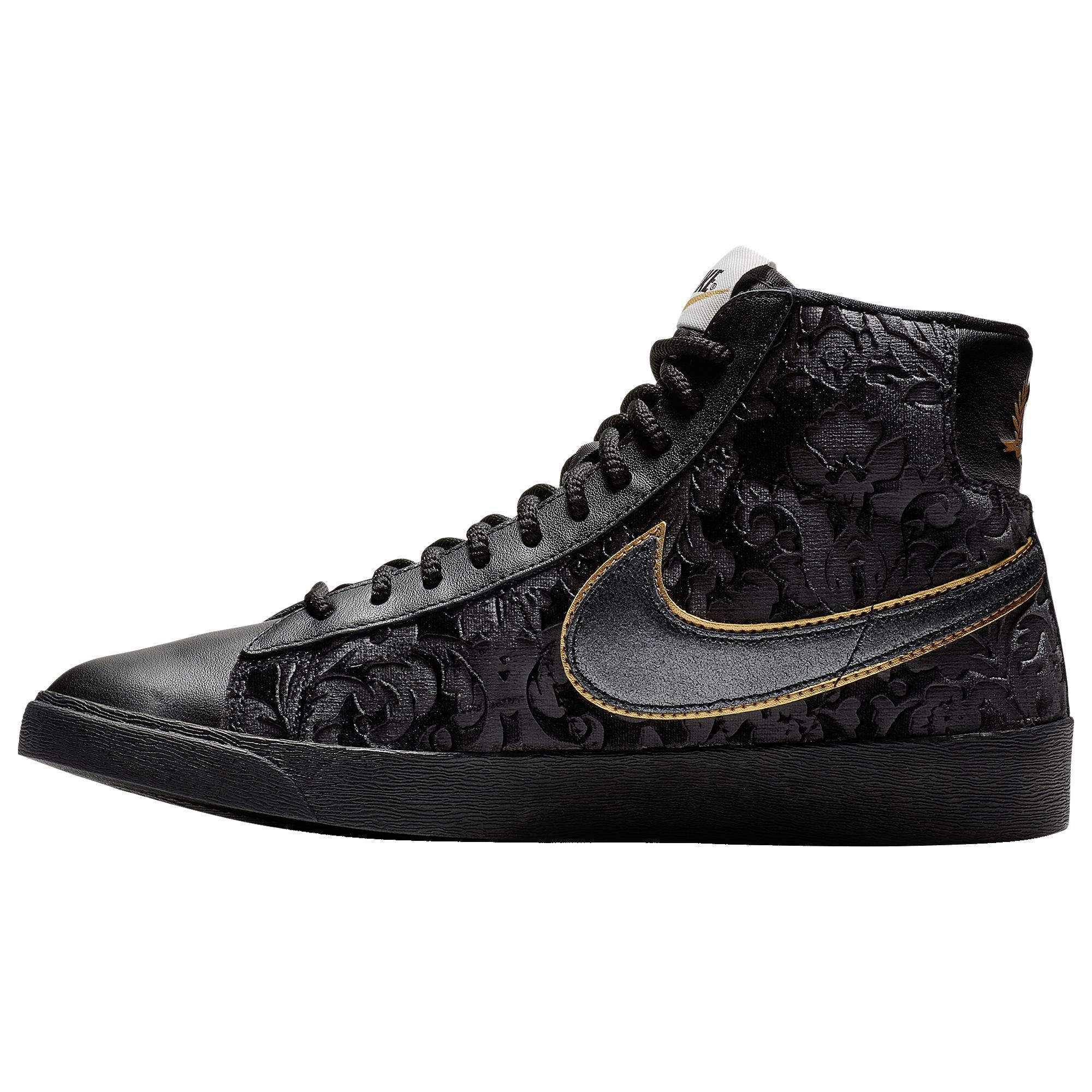 Sastre Amoroso Enjuague bucal  Nike Womens Blazer Mid Velvet in Black/Black-Metallic Gold (Black) - Lyst