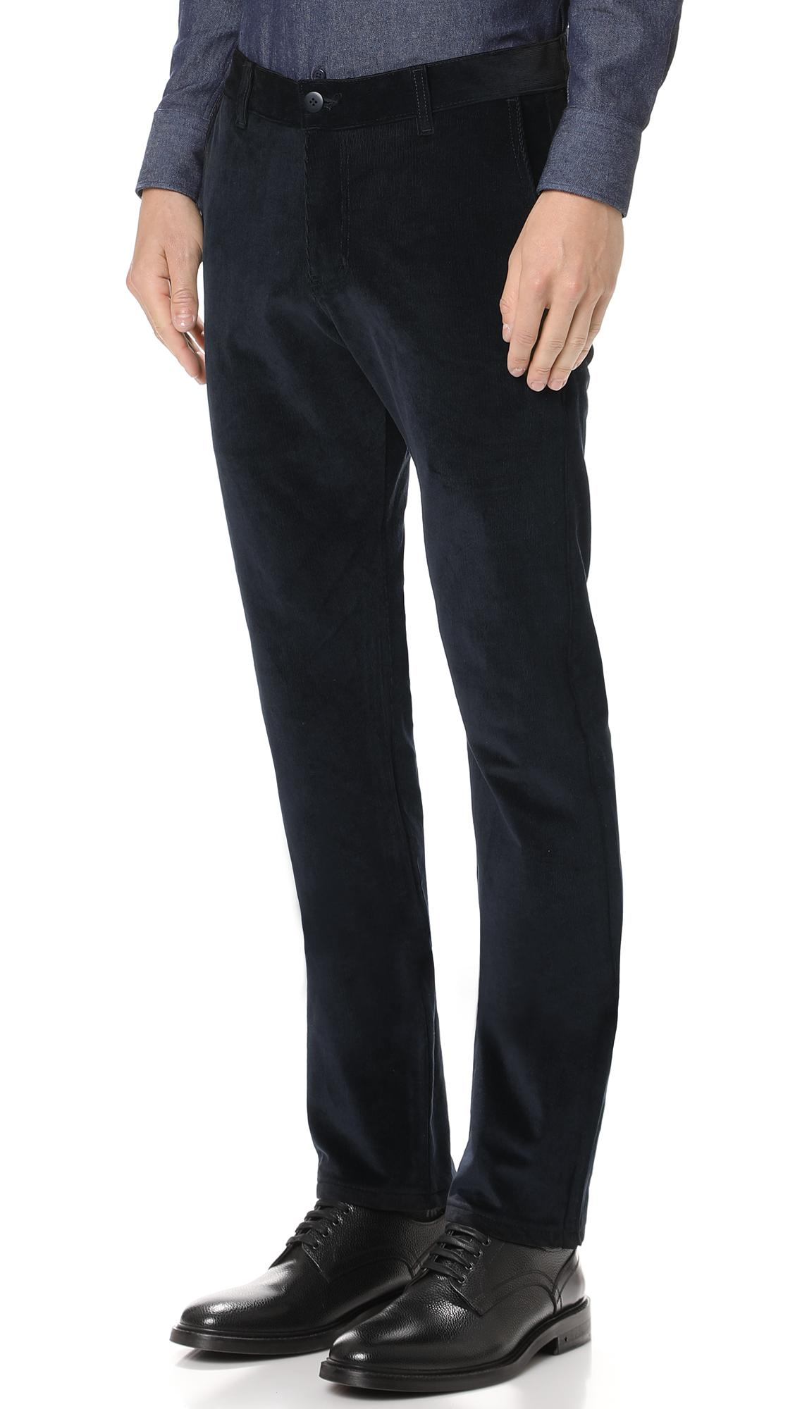 Naked & Famous Stretch Corduroy Trousers in Black for Men