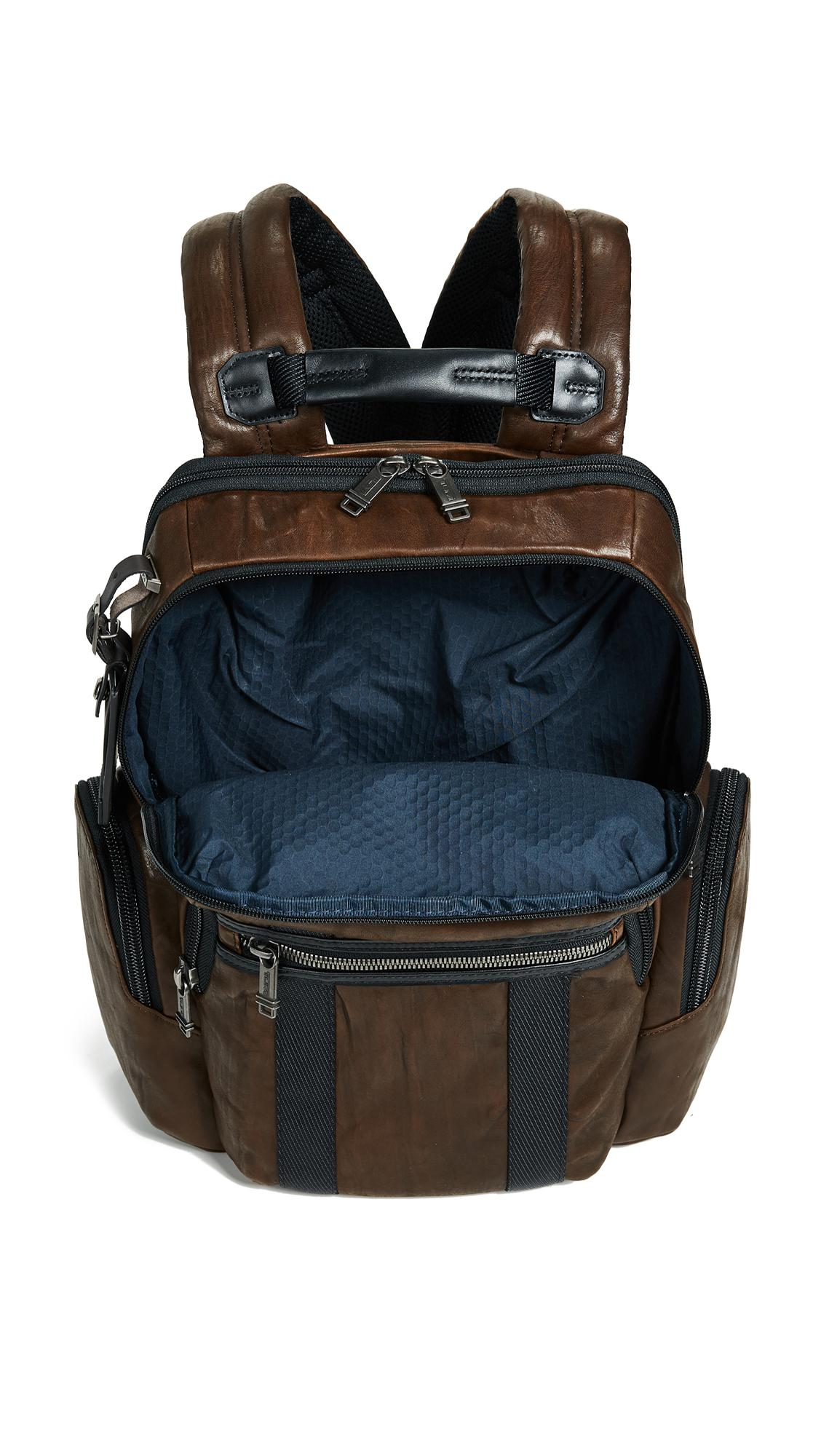 Tumi Leather Alpha Bravo Nellis Backpack in Dark Brown (Brown) for Men