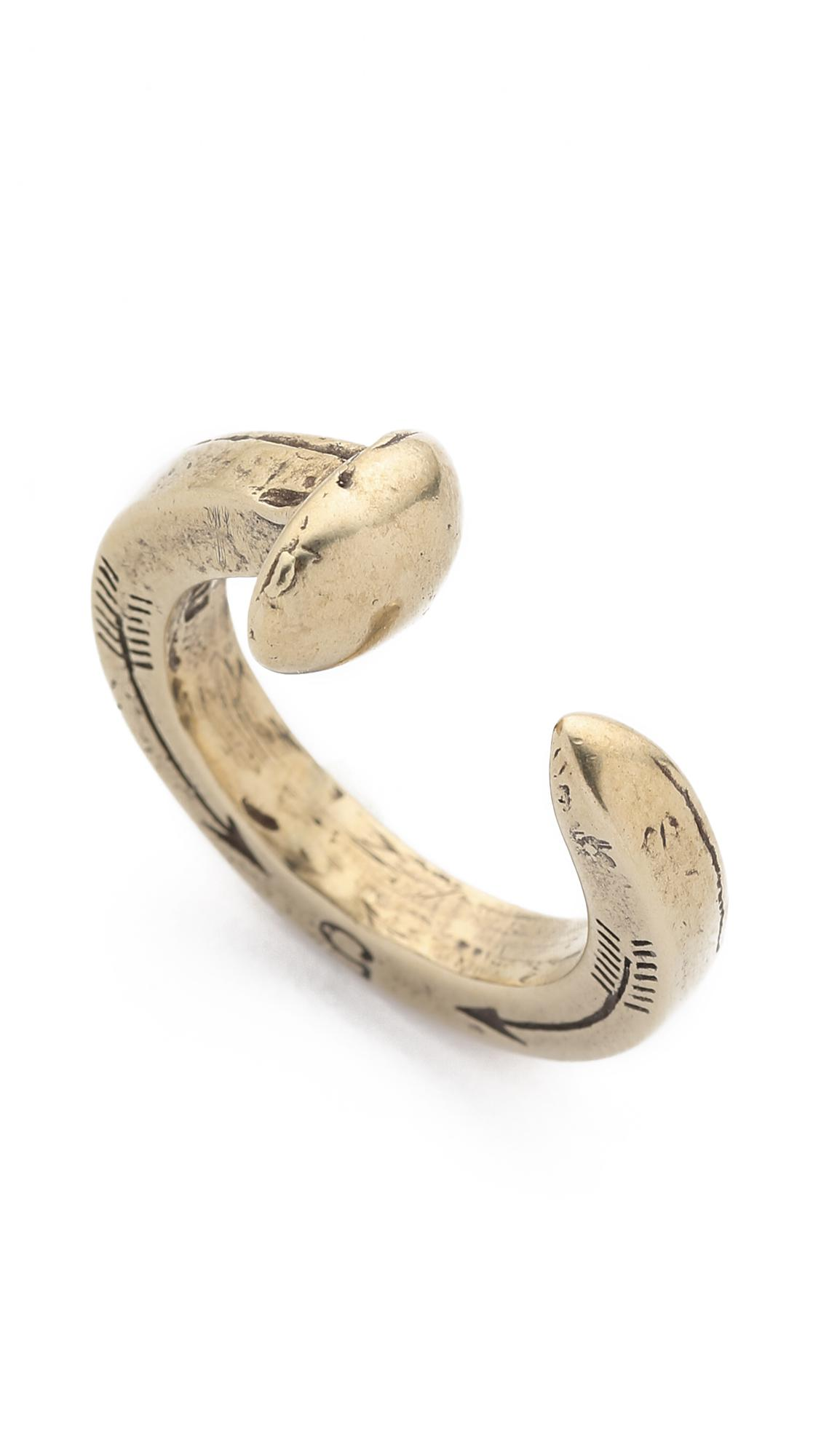 Giles & Brother Original Railroad Spike Ring in Brass (Metallic) for Men