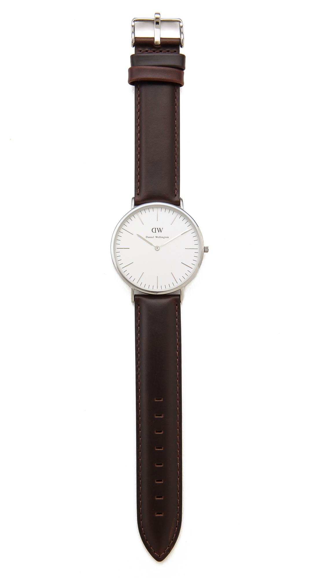 lyst daniel wellington bristol 40mm watch with brown. Black Bedroom Furniture Sets. Home Design Ideas