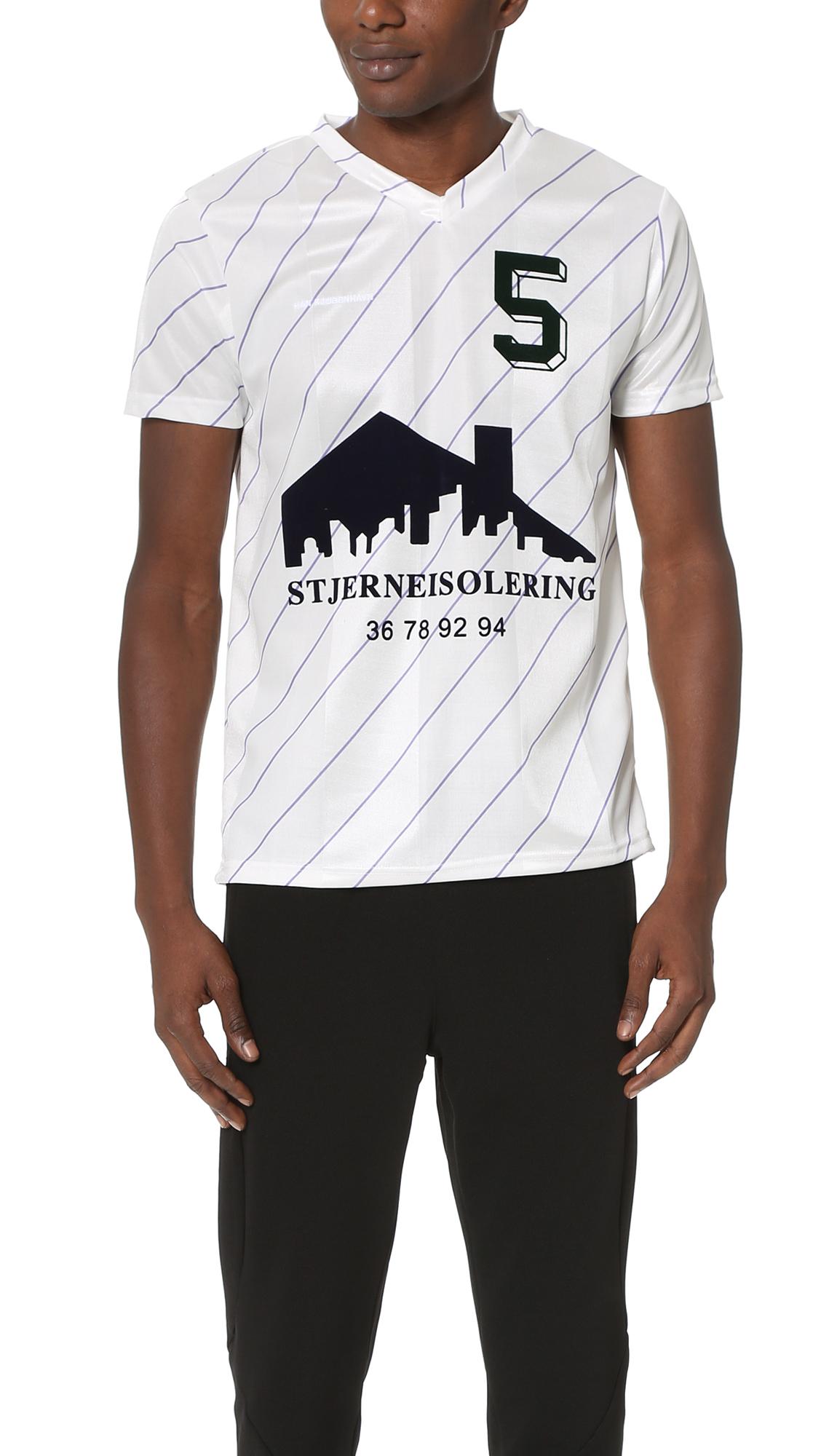 Lyst Han Kjobenhavn Poly Football Shirt In Black For Men
