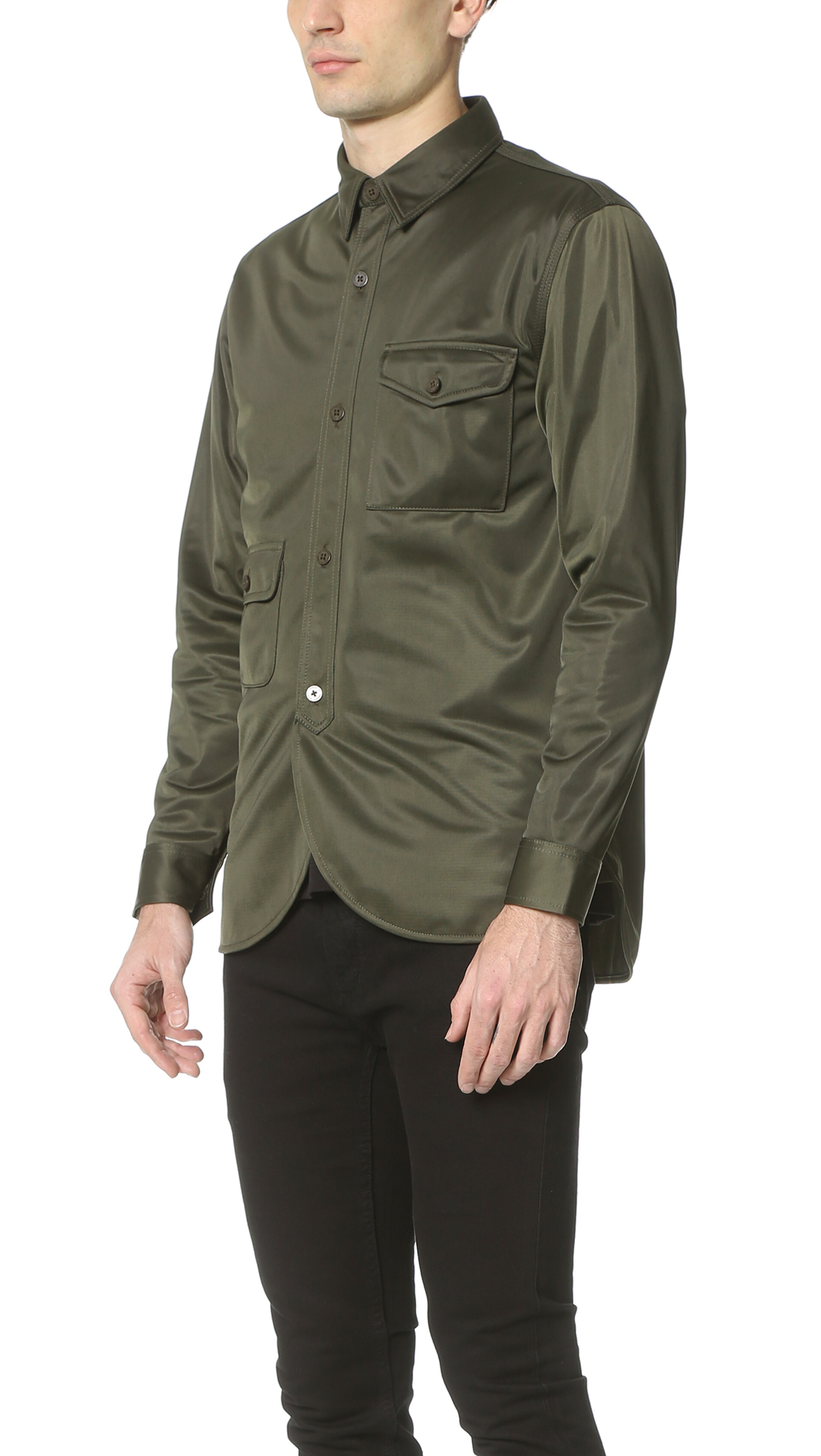Han Kjobenhavn Army Shirt In Green For Men Lyst