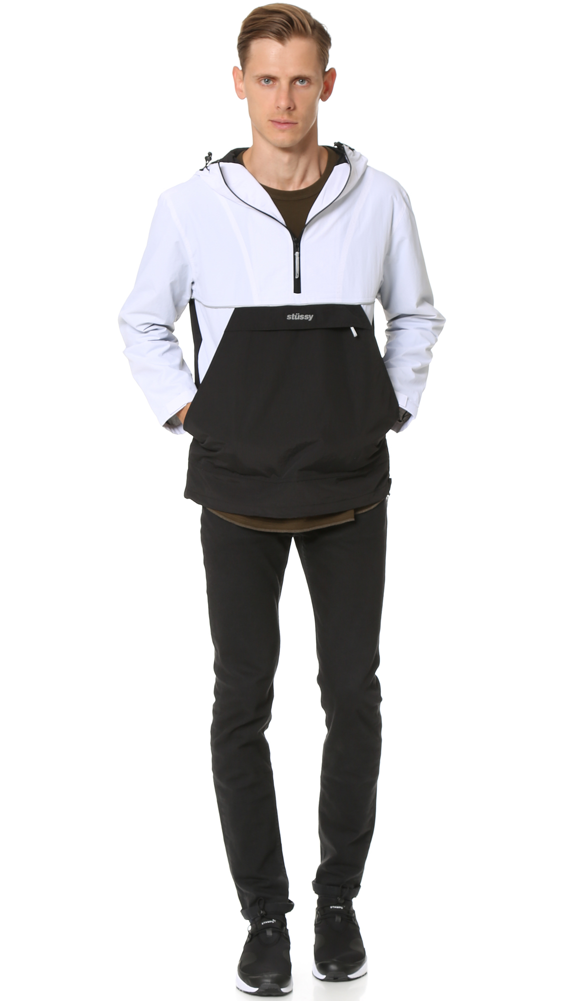 Stussy Synthetic Reflective Sports Pullover Jacket in White for Men