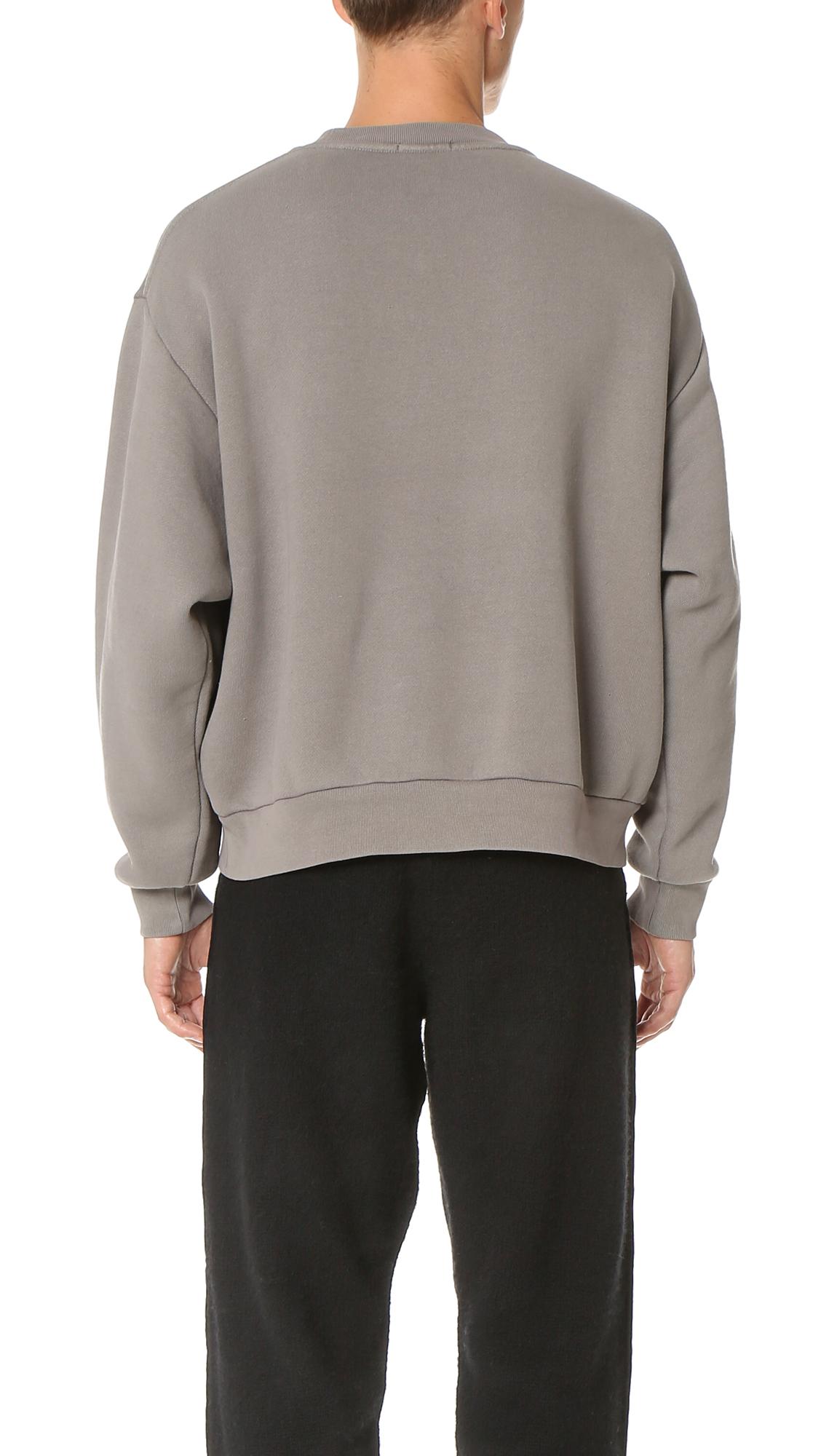 T By Alexander Wang Fleece Oversized Crew Neck Sweatshirt in Slate (Grey) for Men
