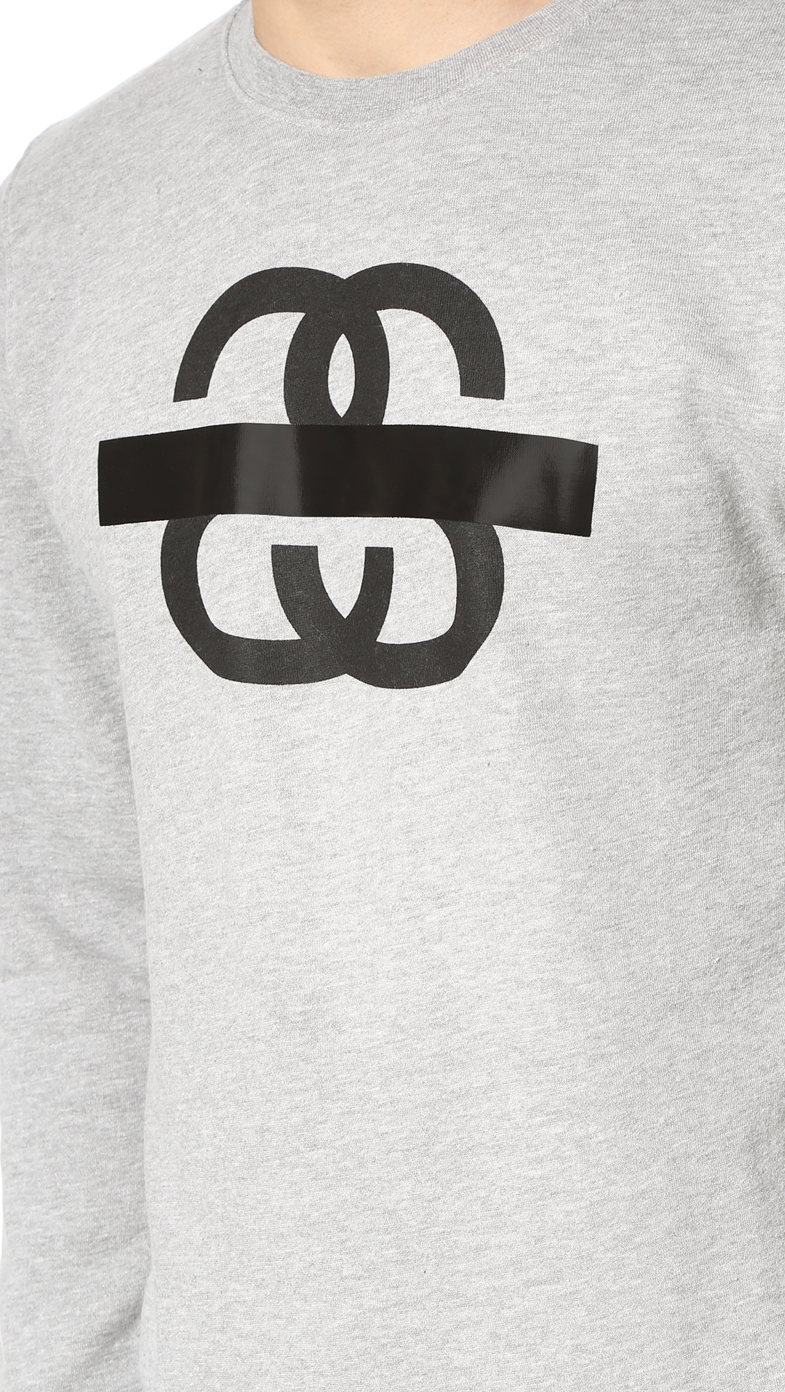 Stussy Cotton Taped Long Sleeve Sweatshirt in Grey Heather (Pink) for Men
