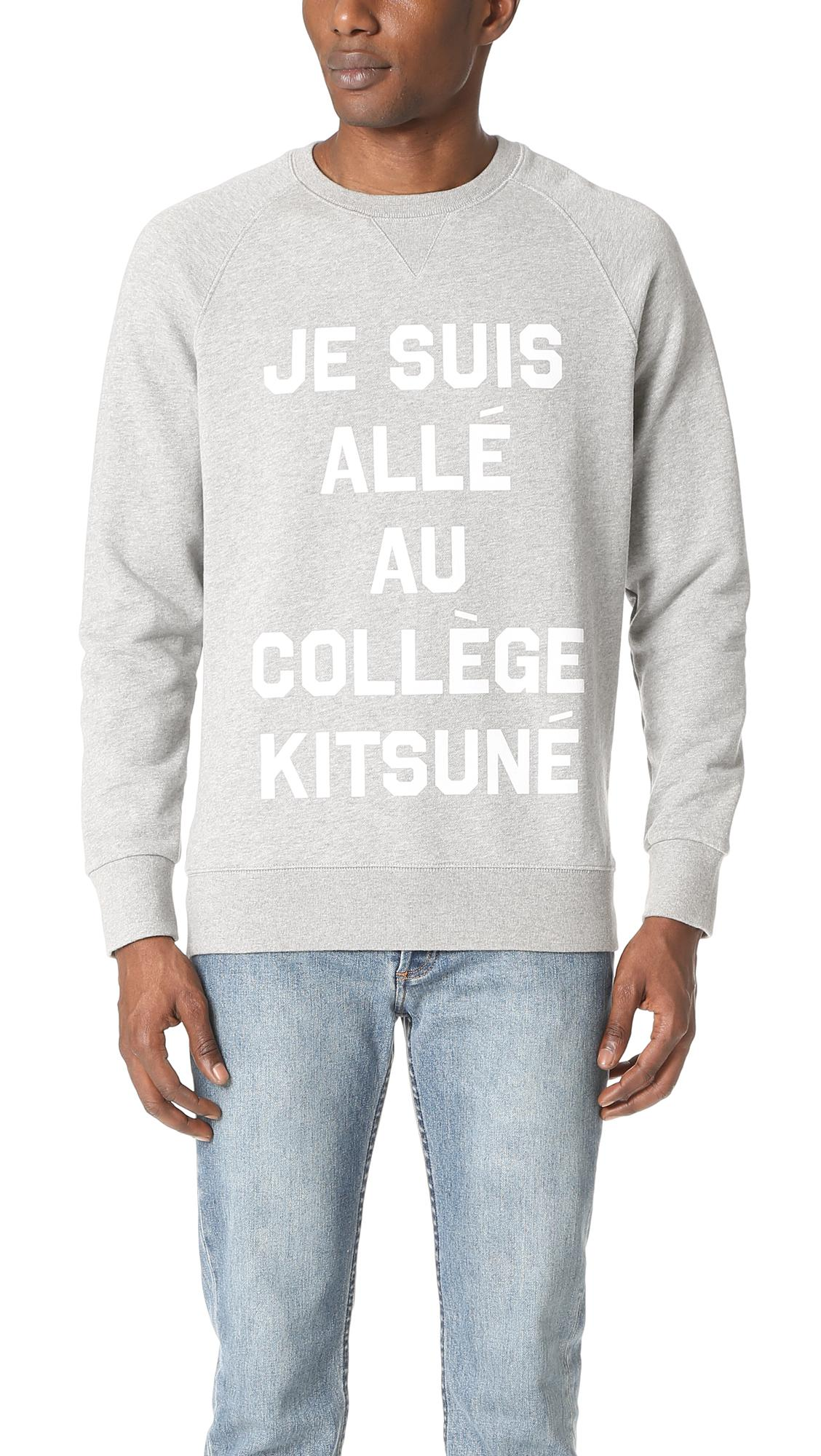 lyst maison kitsun je suis alle sweatshirt in gray for men. Black Bedroom Furniture Sets. Home Design Ideas