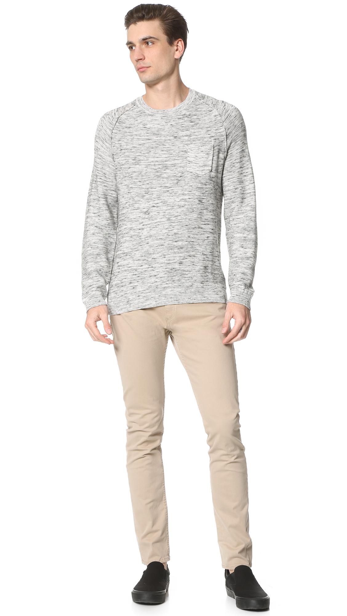 calvin klein jeans crew sweater in black for men lyst. Black Bedroom Furniture Sets. Home Design Ideas