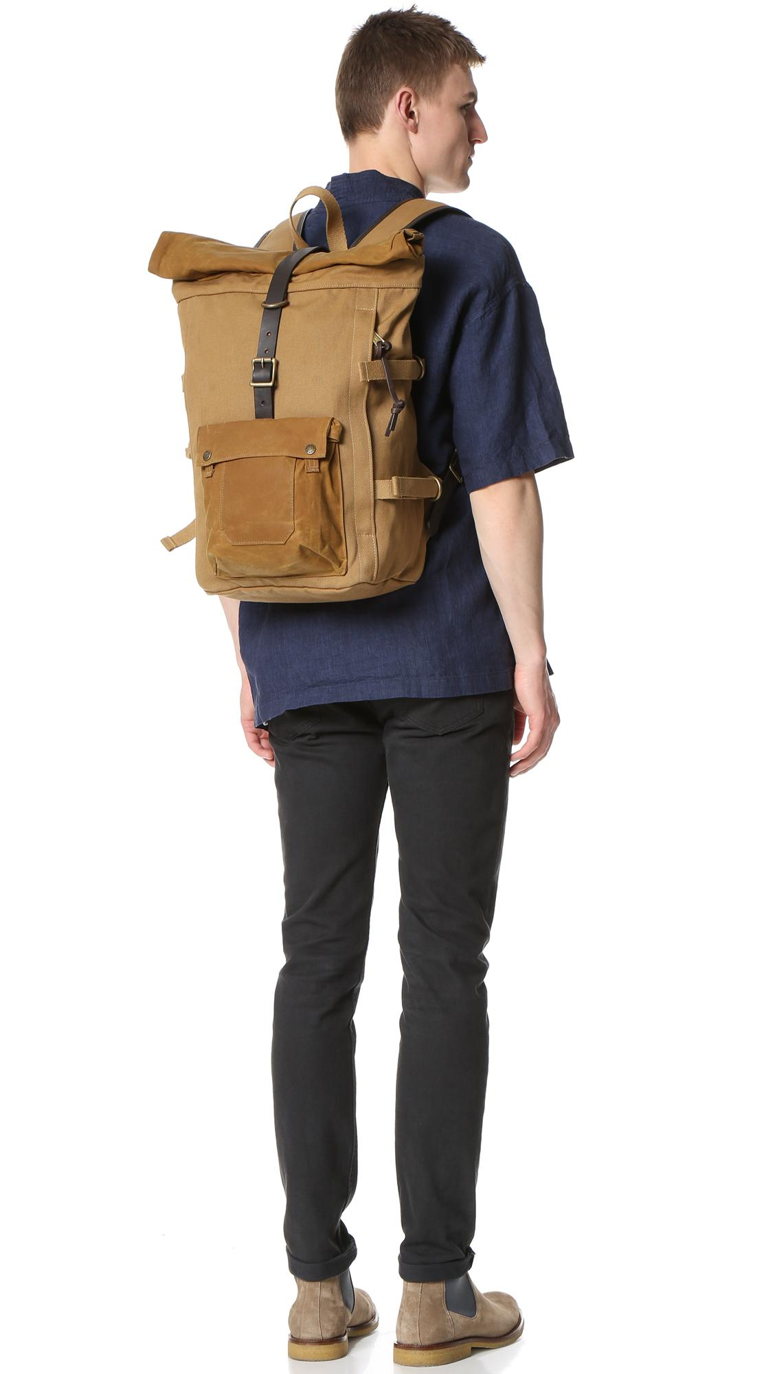 Filson Canvas Roll Top Backpack in Tan (Brown) for Men