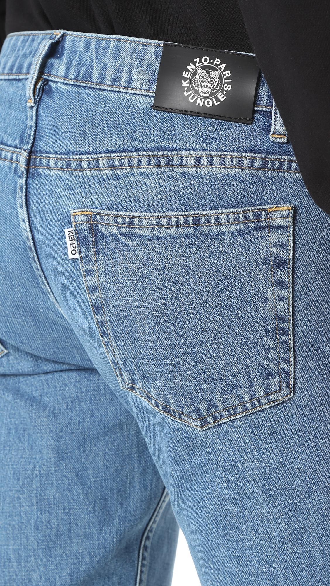 KENZO Denim Stonewashed Slim Jeans in Navy (Blue) for Men