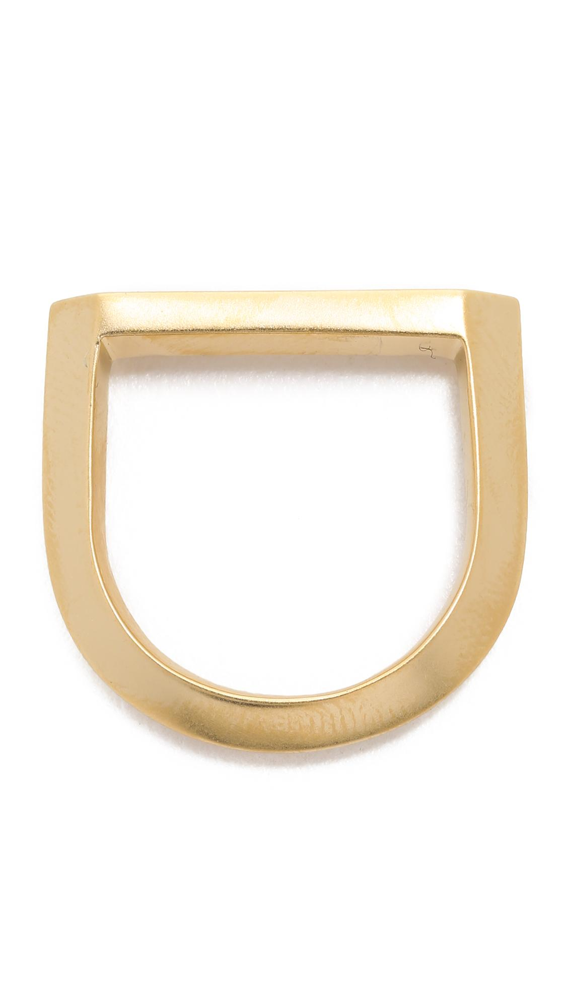 Miansai Flat Top Ring in Brushed Gold (Metallic) for Men