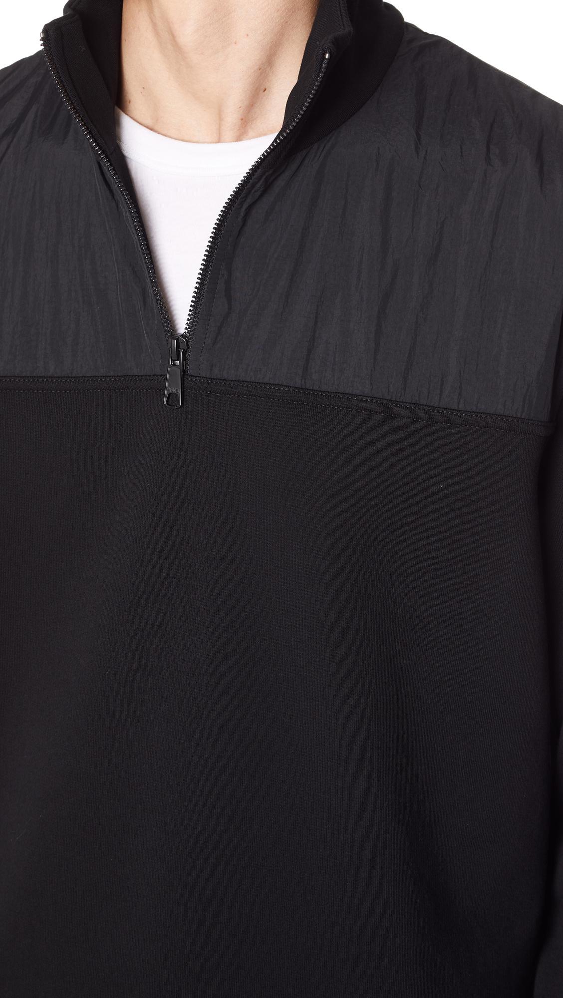 Vince Cotton Mixed Media Half Zip Jacket in Black for Men