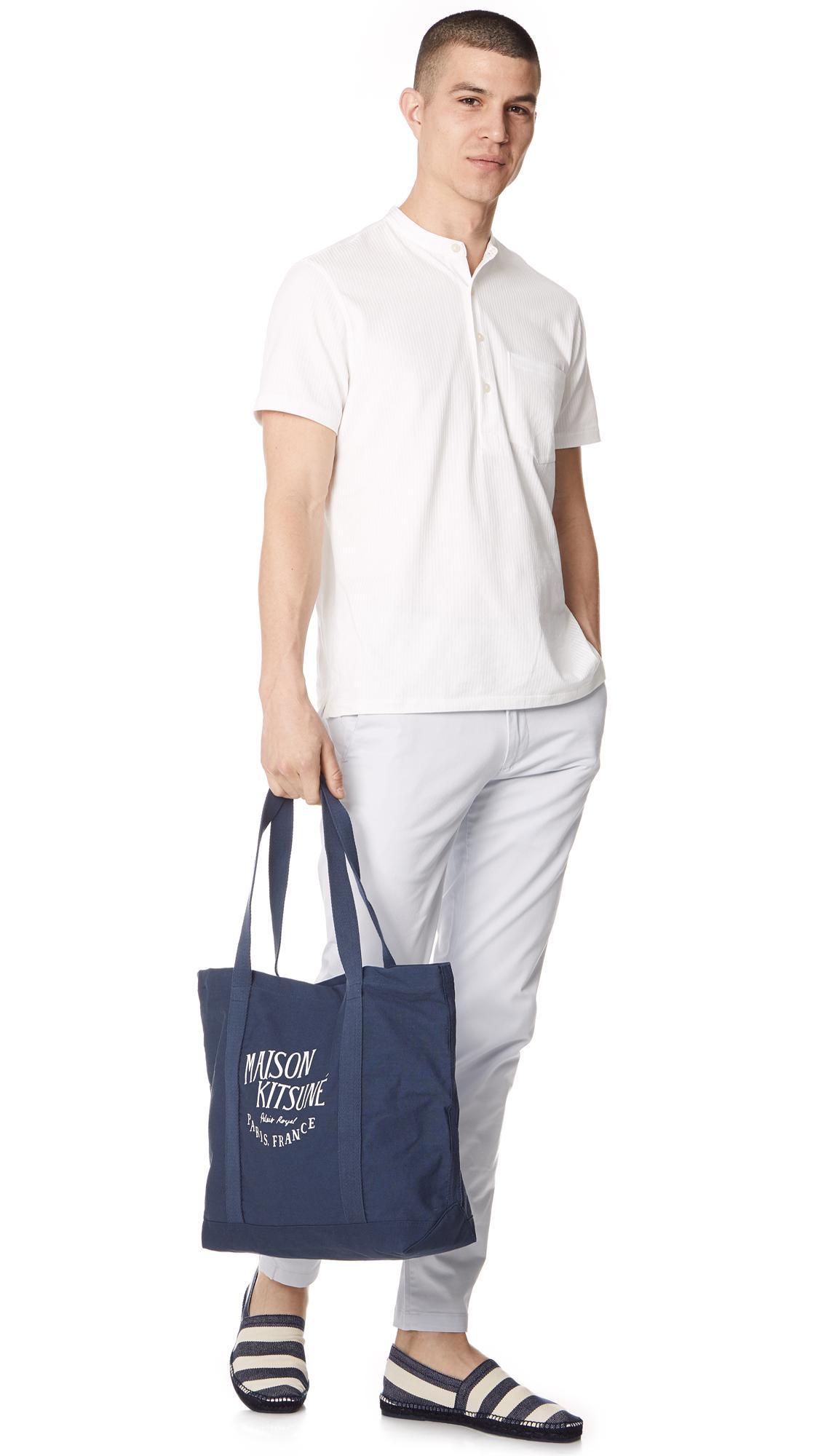 Maison Kitsuné Canvas Palais Royale Tote Bag in Blue for Men