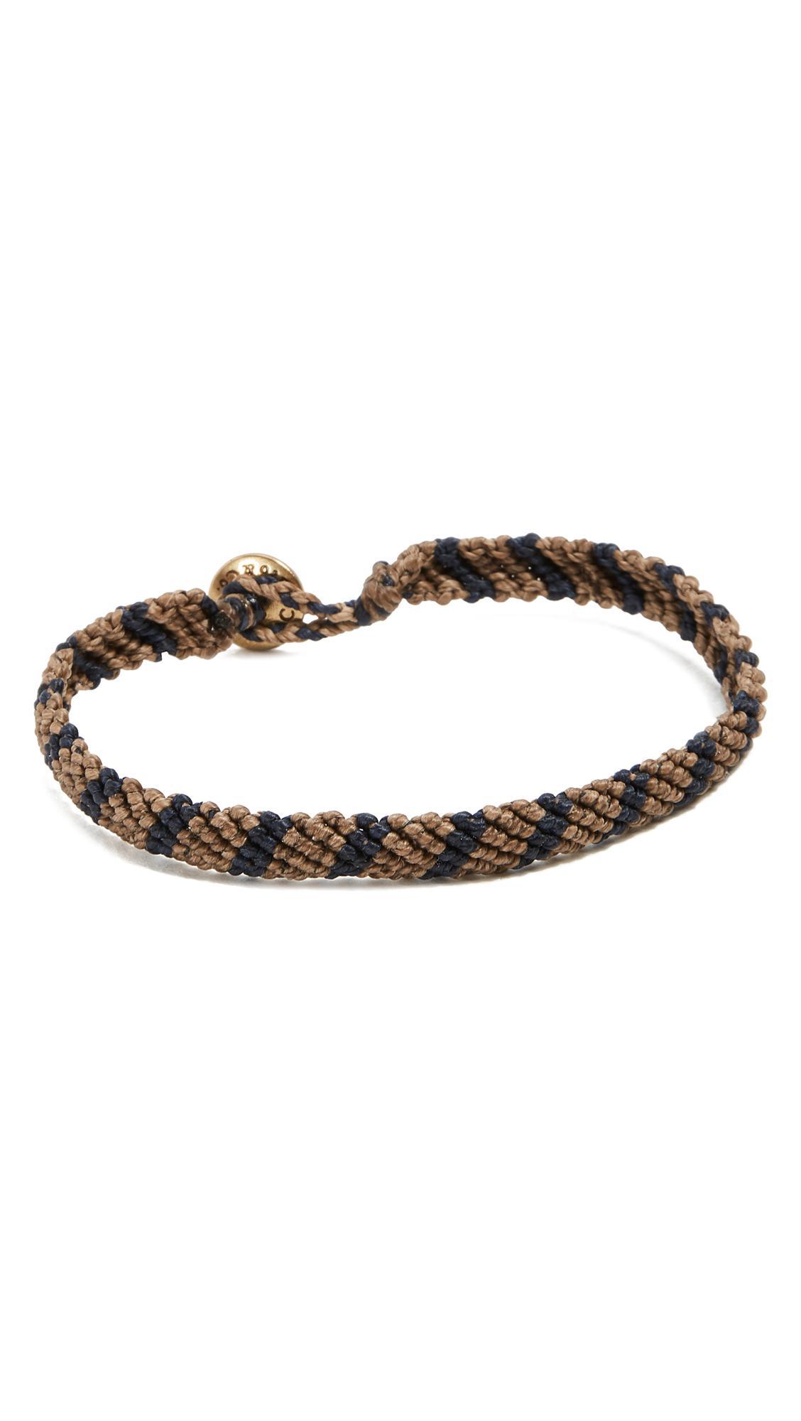 Caputo & Co. Hand-Knotted Stripe Bracelet - Brown/Navy Ou5sLB
