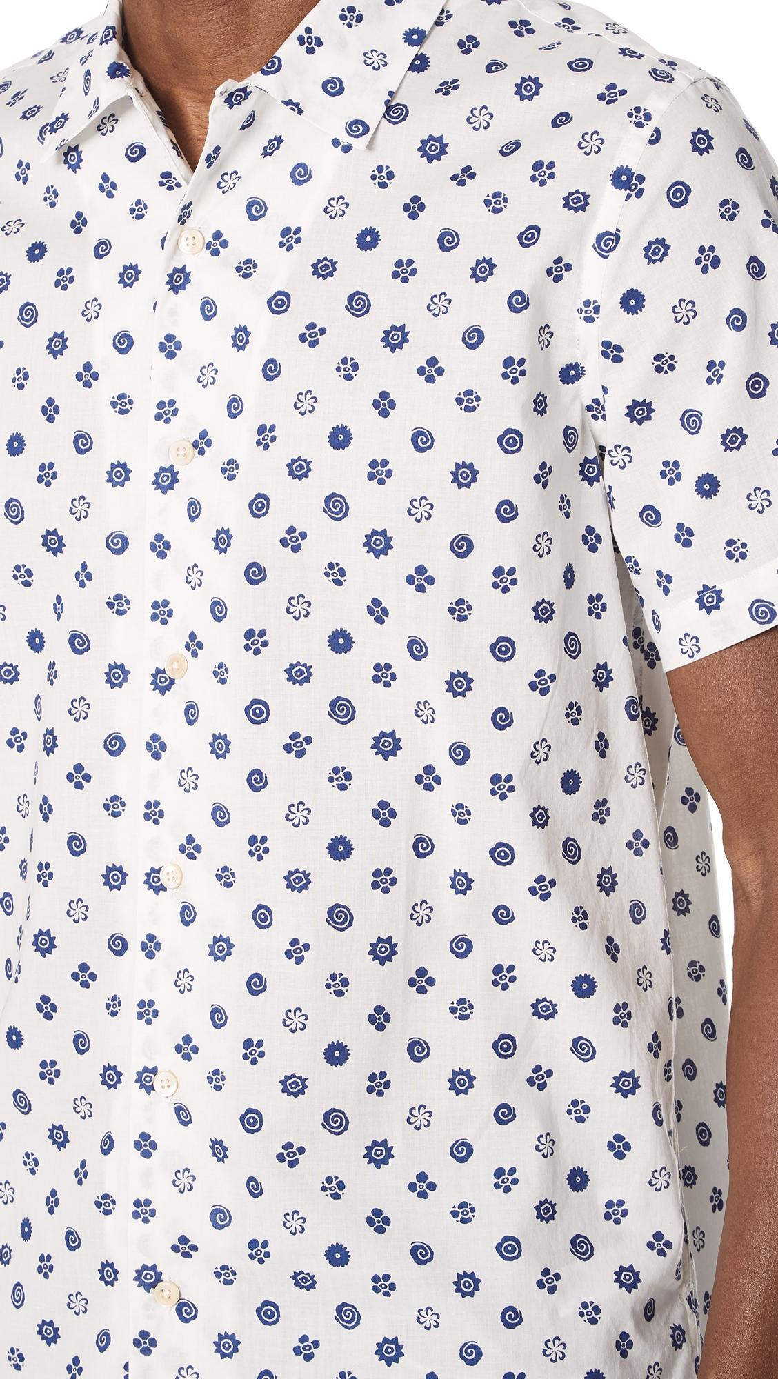 PS by Paul Smith Cotton Flower Shirt in Cream/Navy (Blue) for Men