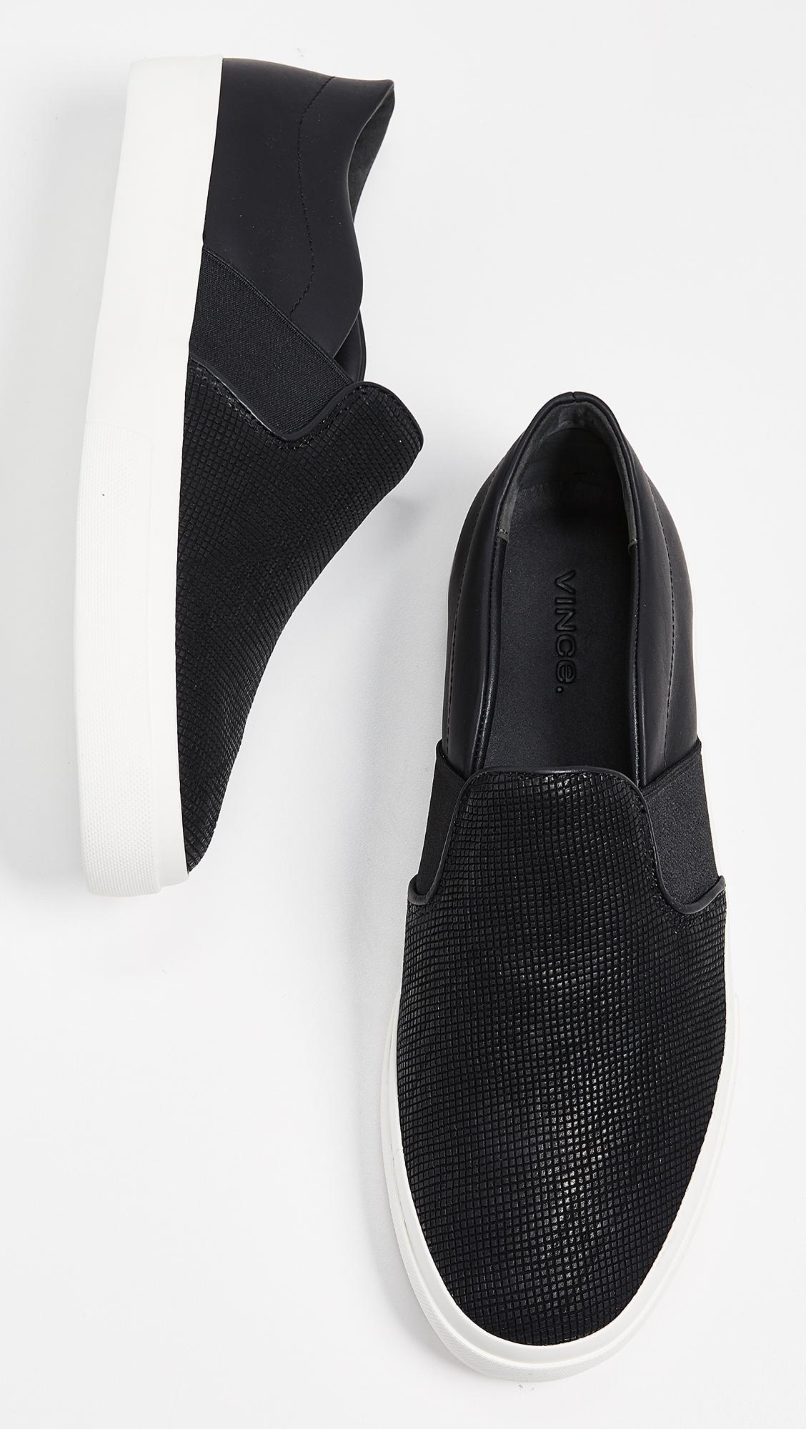 Vince Leather Fenton Sneakers in Black