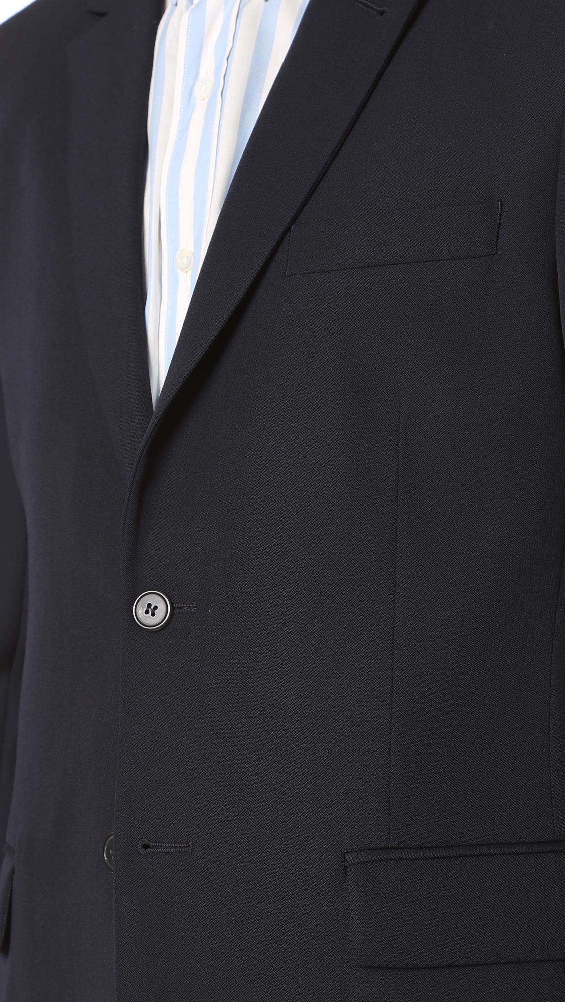 AMI Wool 2 Button Suit Jacket in Navy (Blue) for Men