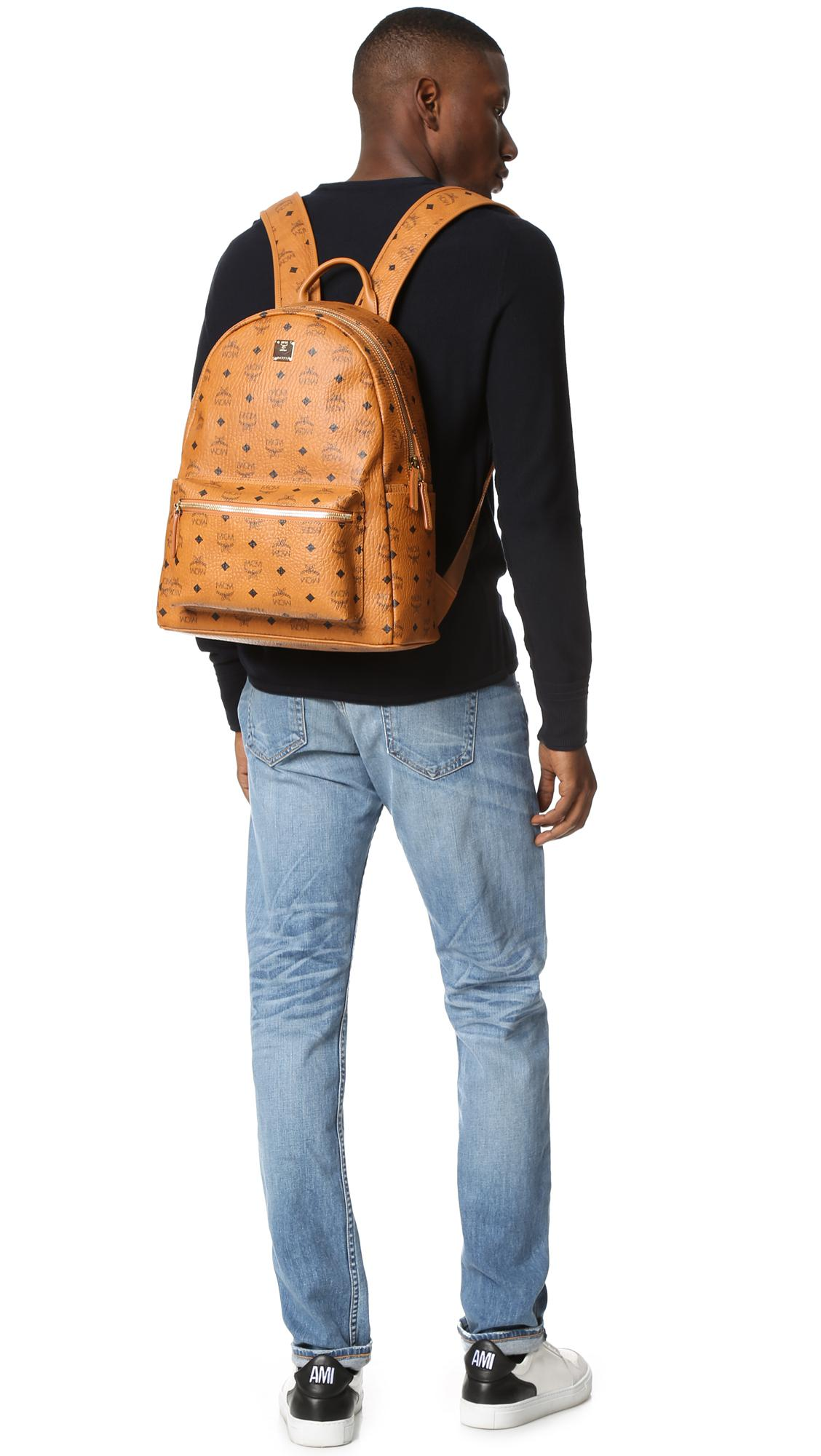 754e1bfd666 MCM - Brown Stark Medium Coated Canvas Backpack for Men - Lyst. View  fullscreen