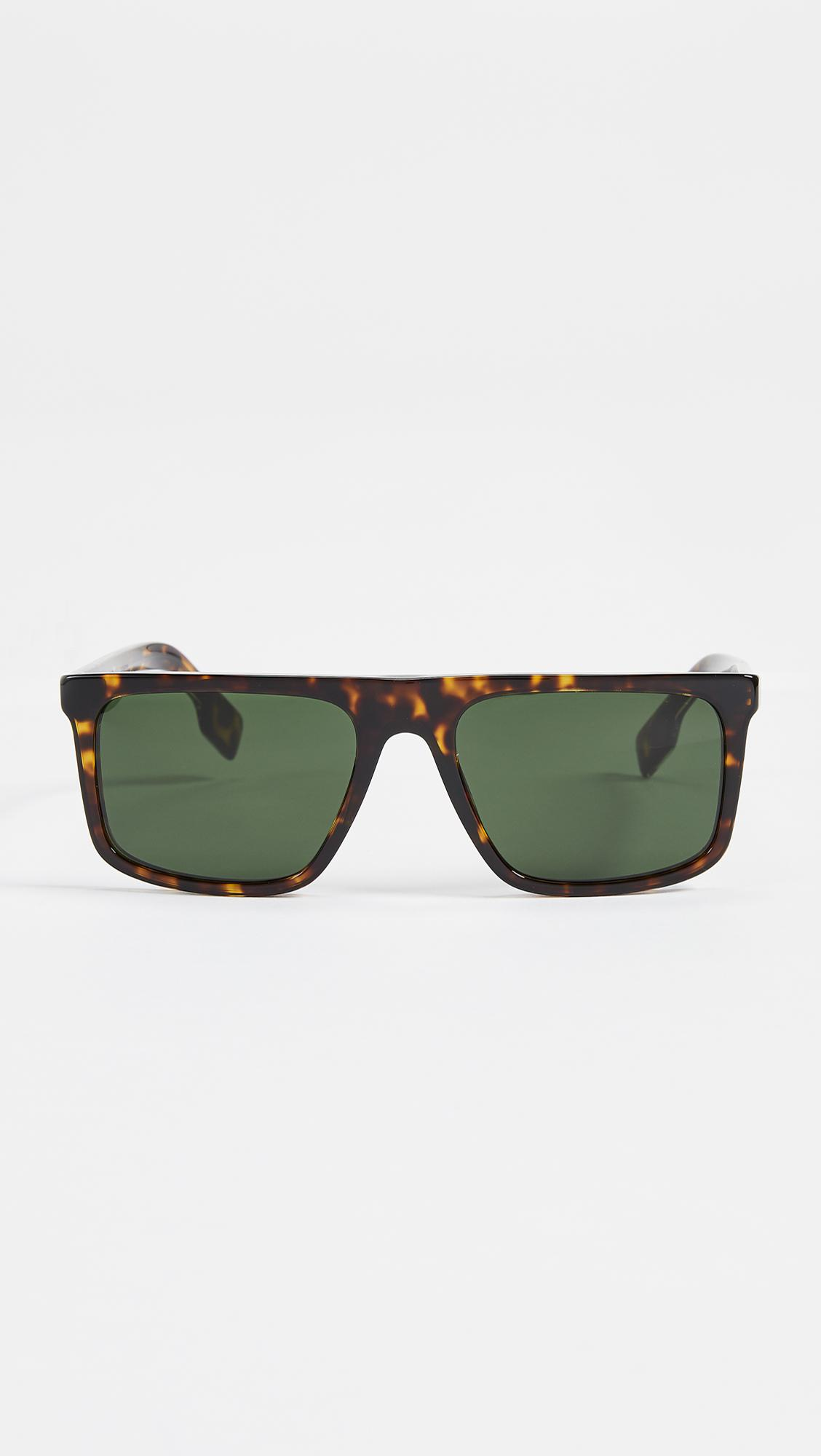 0080eda114f Burberry Flat Top Sunglasses in Green for Men - Lyst