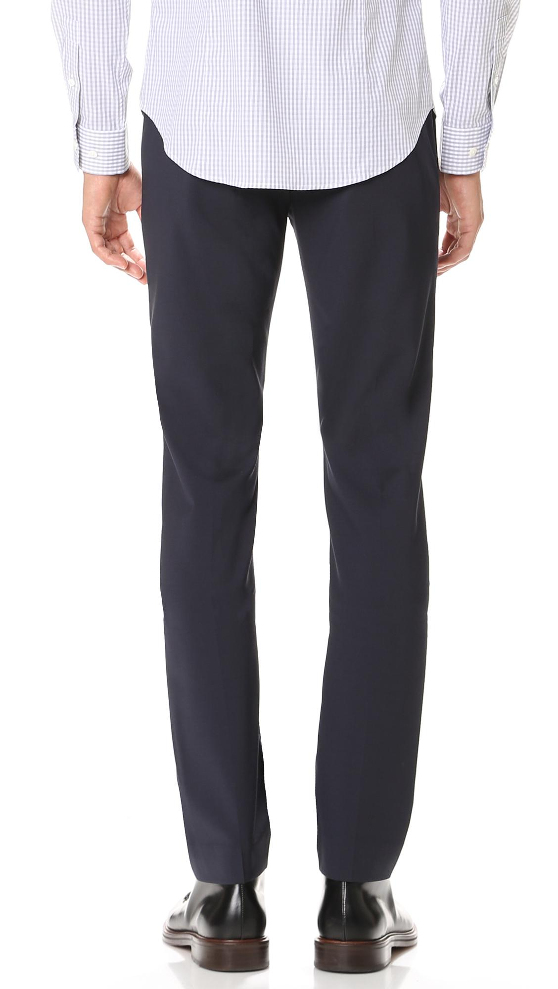 Theory Wool Jake Ff Tropical Suit Trousers in Navy (Blue) for Men