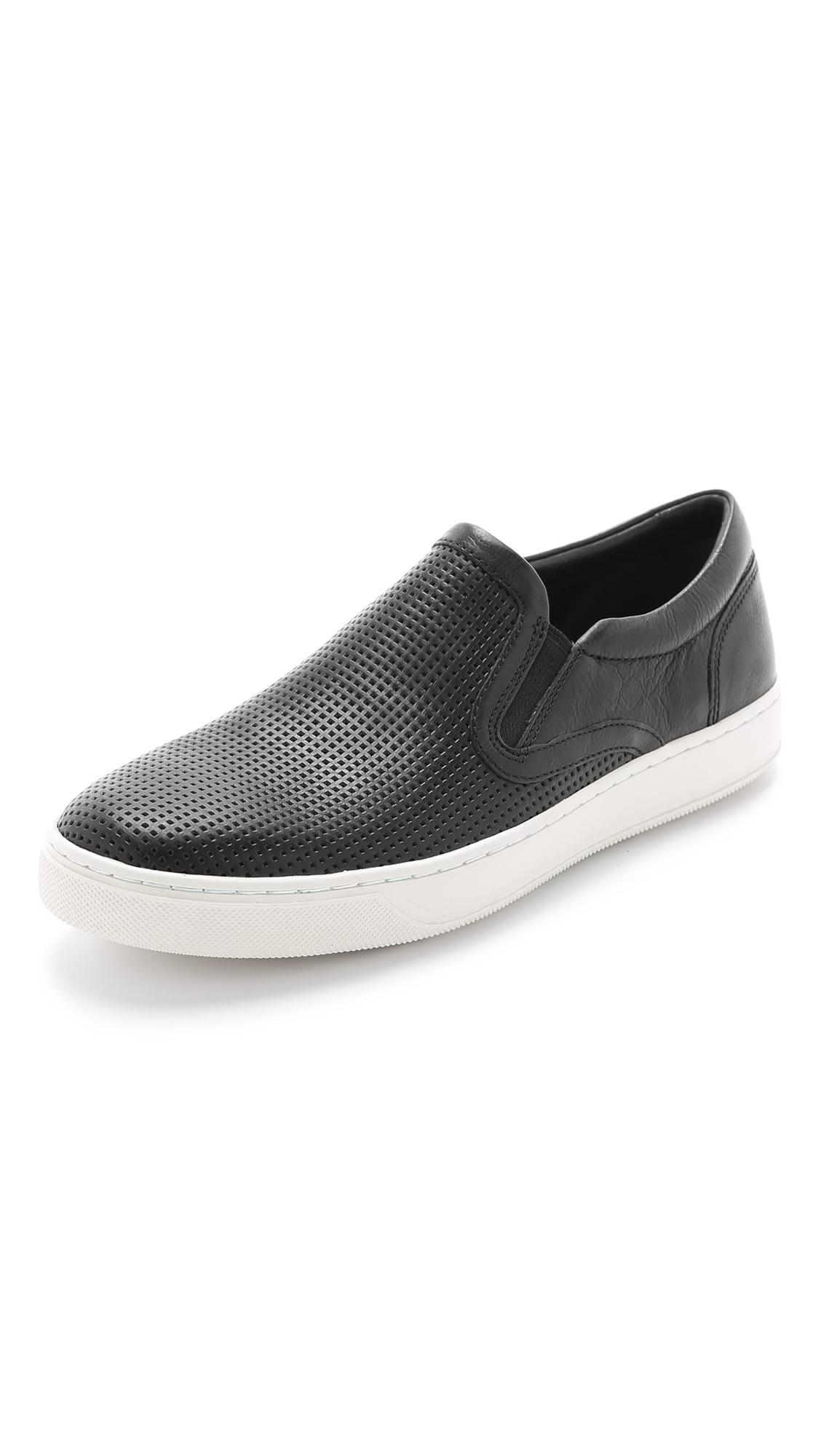 Vince Ace Perforated Leather Slip On Sneakers In Black For
