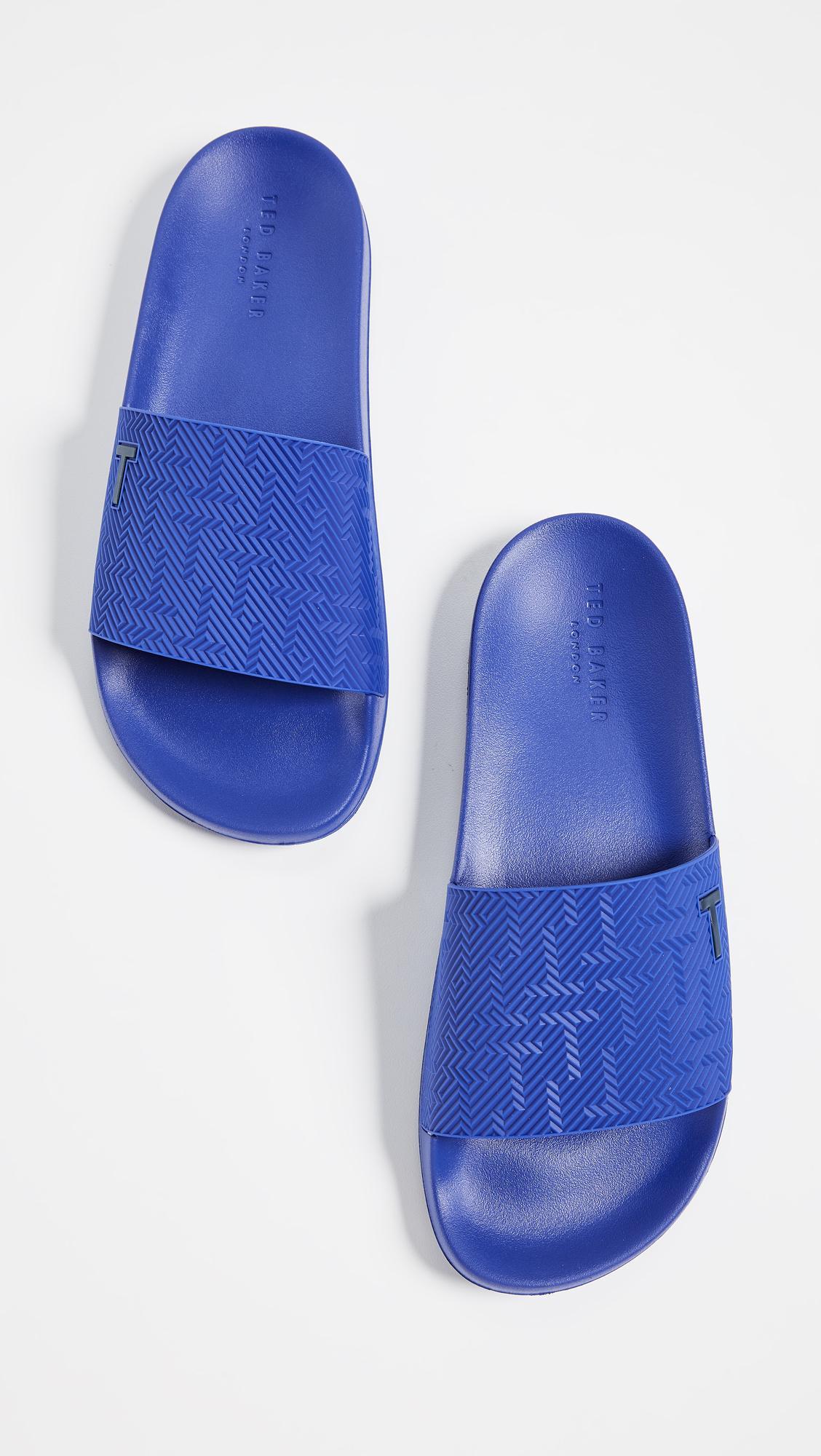 1c2a4652c Lyst - Ted Baker Mastal Slide Sandals in Blue for Men