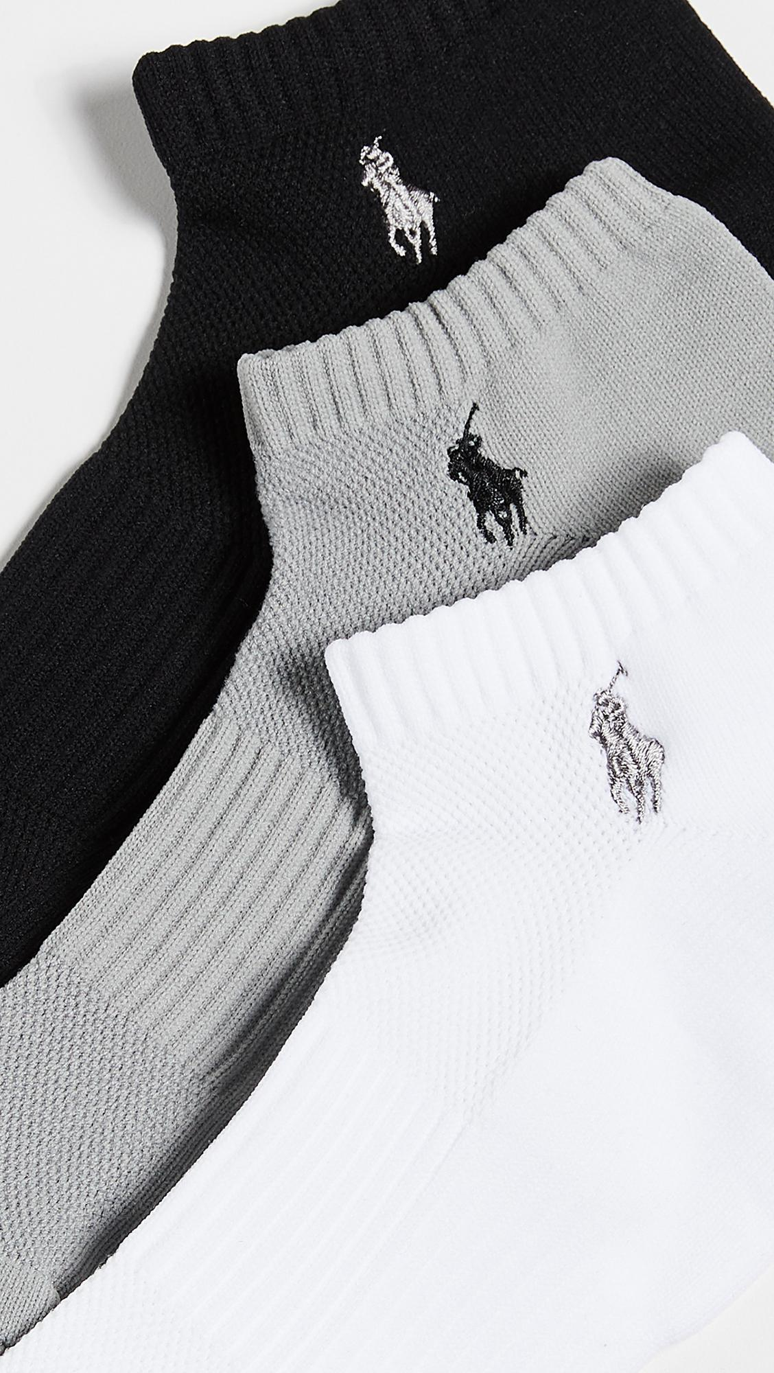 12a89c53e8ef4 Lyst - Polo Ralph Lauren 3 Pack Tech Athletic Low Cut Socks in Black ...