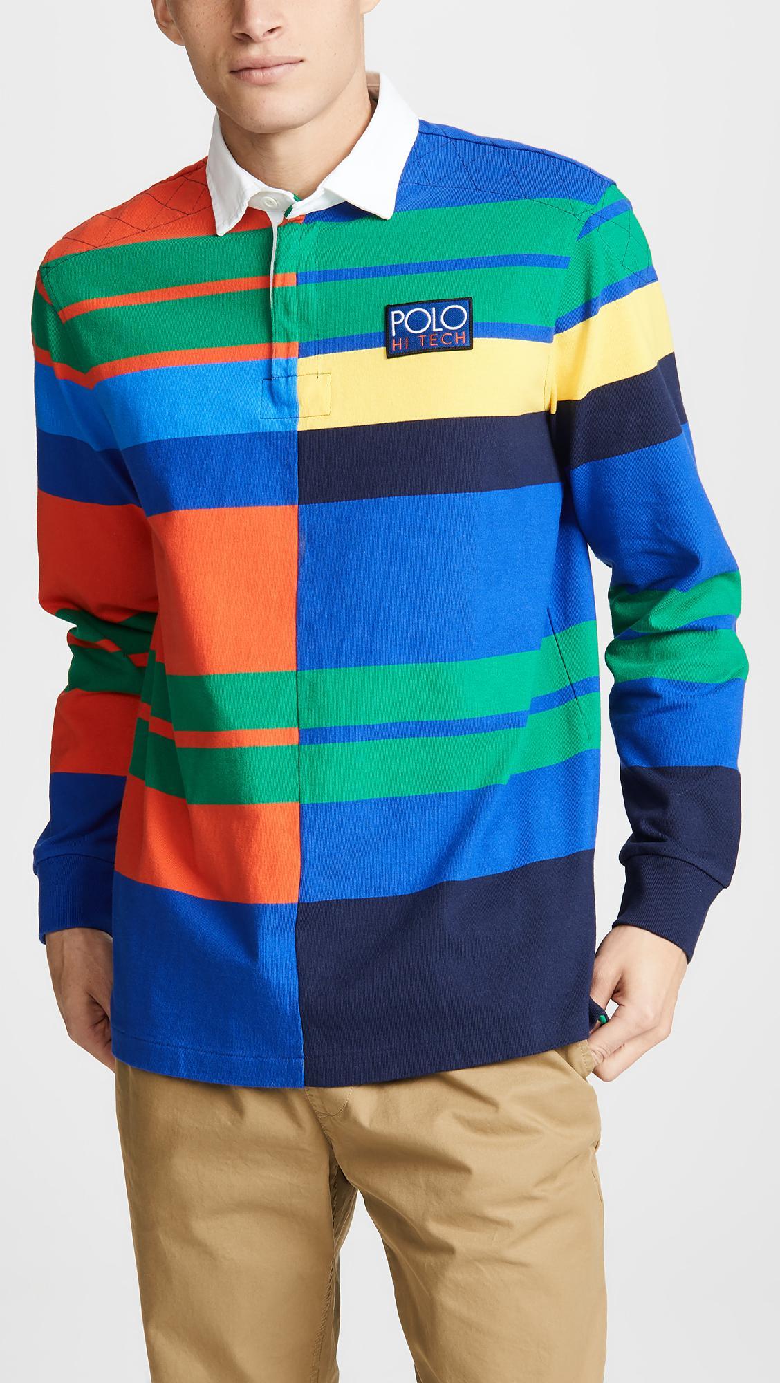 3a552e6cf68 ... ebay polo ralph lauren orange hi tech rustic rugby polo shirt for men  lyst. view
