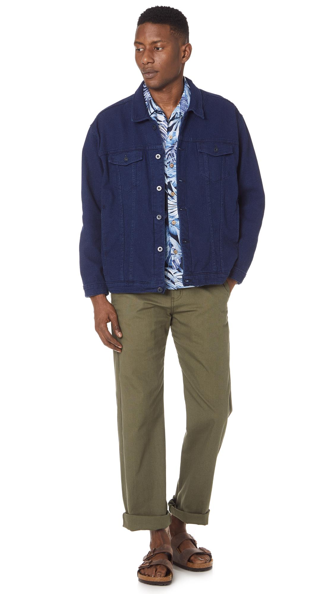 Naked & Famous Cotton Tropical Leaves Shirt in Navy (Blue) for Men