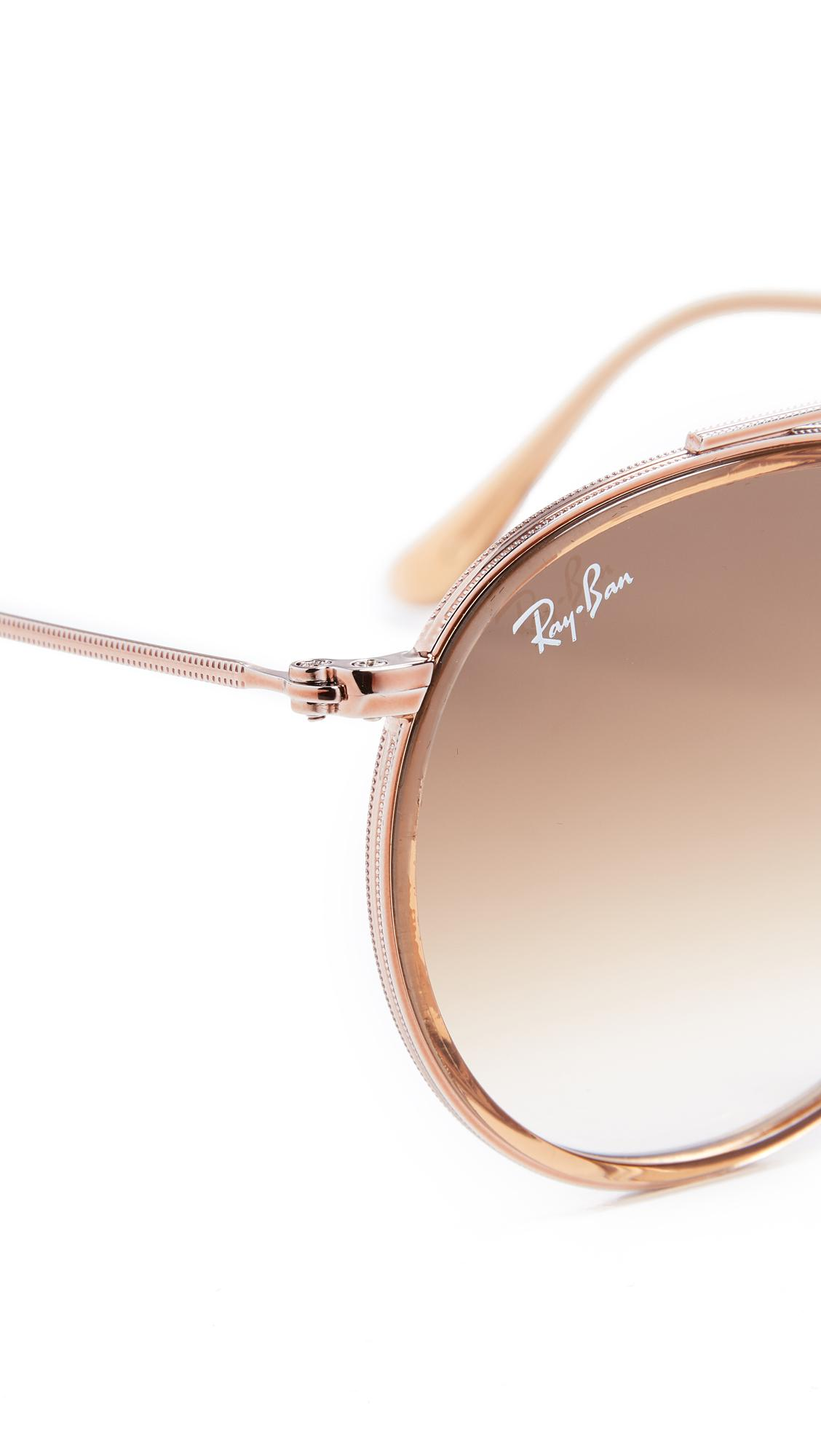 Ray-Ban Round Double Bridge Sunglasses in Brown for Men