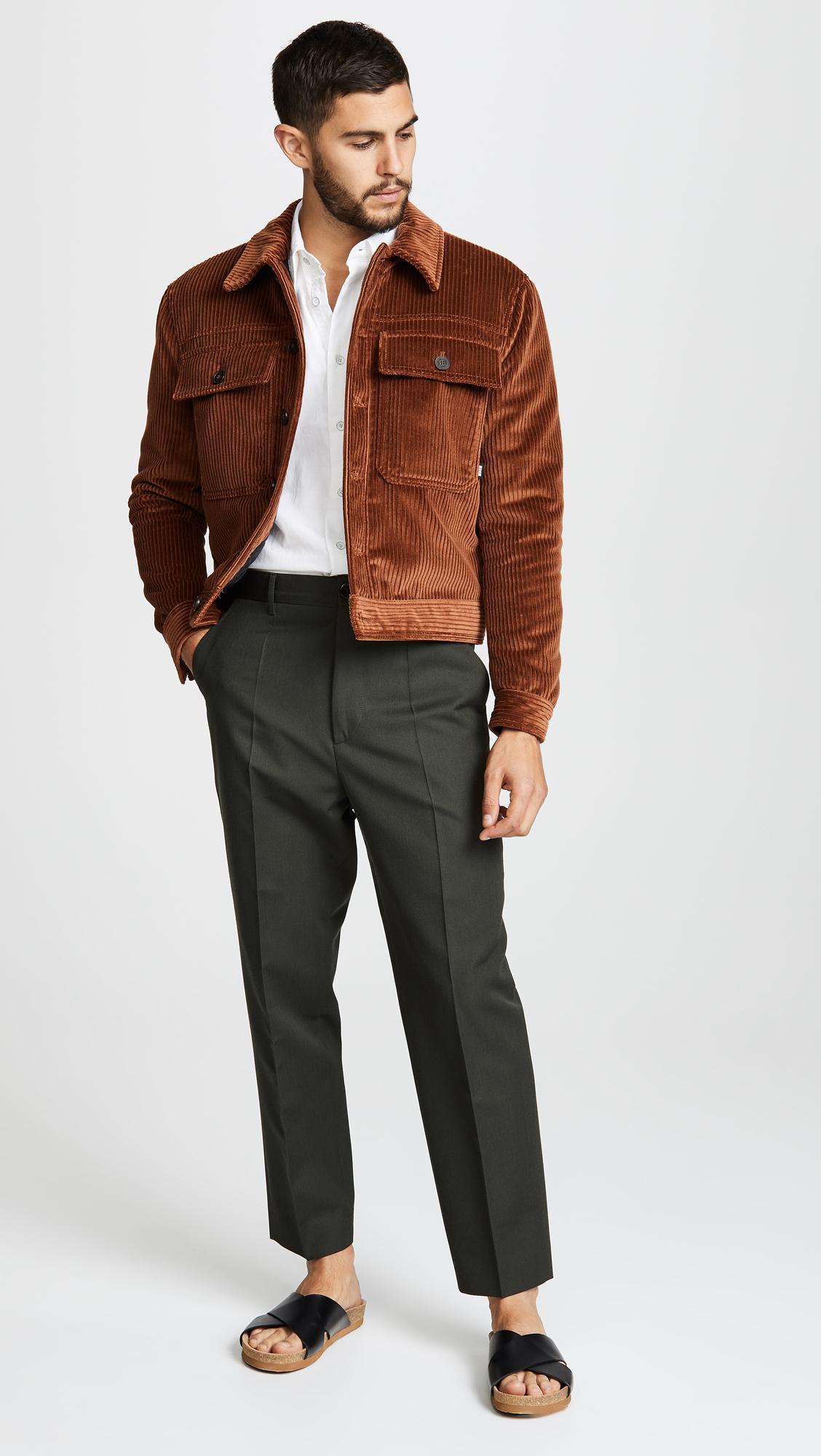 0ffbeb43dce3 MSGM Corduroy Velvet Jacket in Brown for Men - Lyst