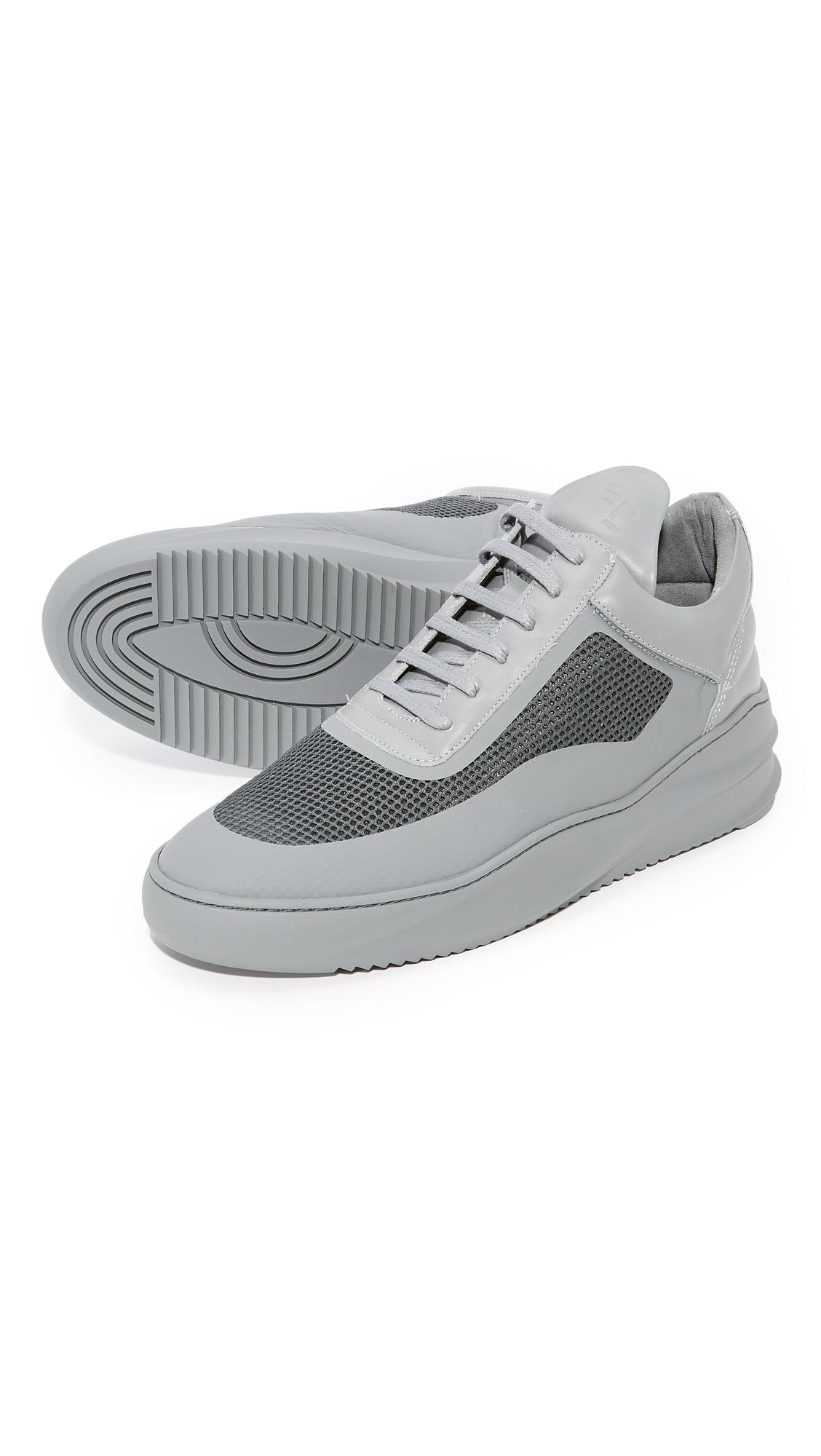 Filling Pieces Leather Sky Seamless Low Top Sneakers in Dark Gray (Grey) for Men