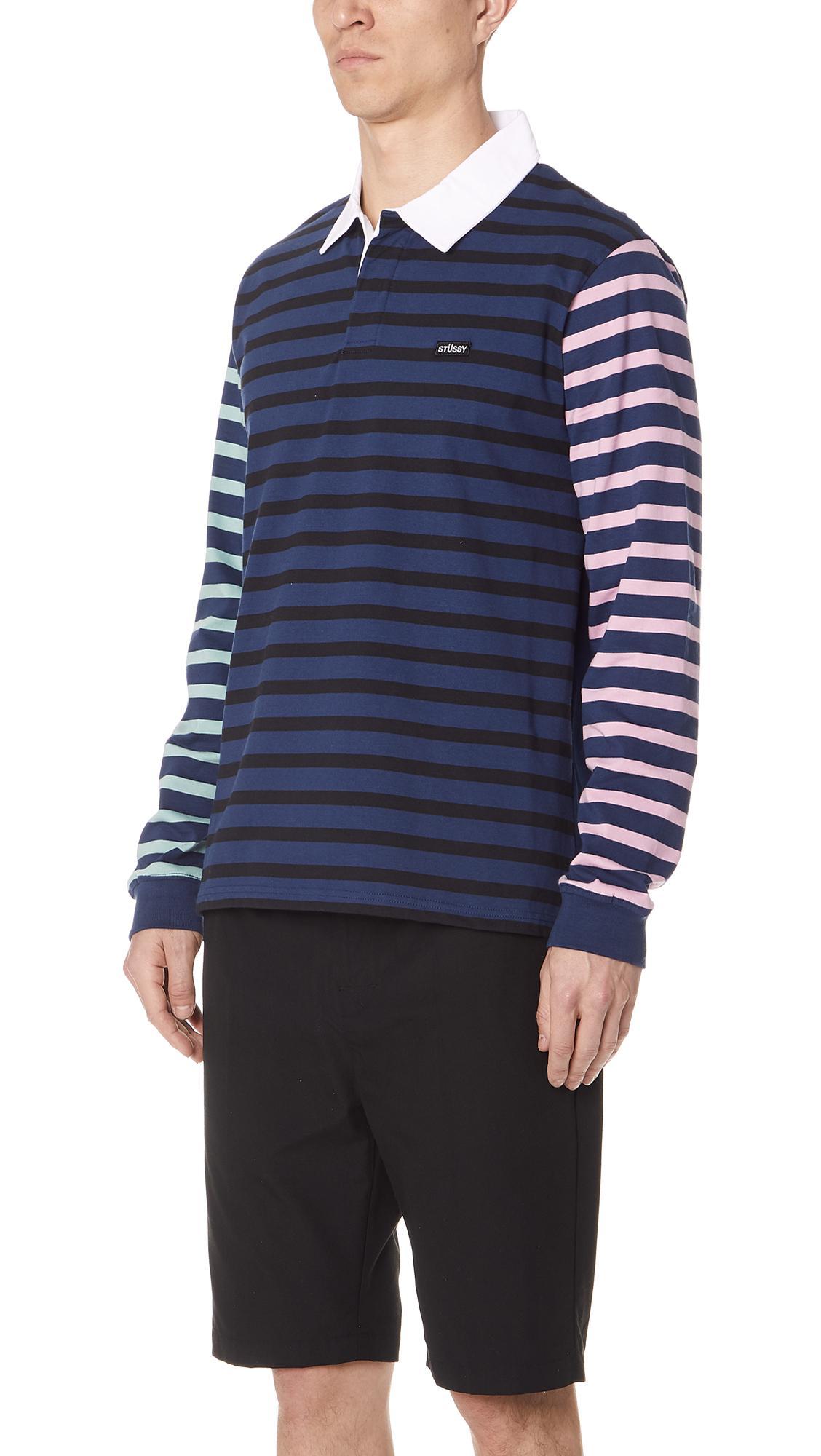 3f1c38727c Stussy Jonah Stripe Long Sleeve Rugby Shirt in Blue for Men - Lyst