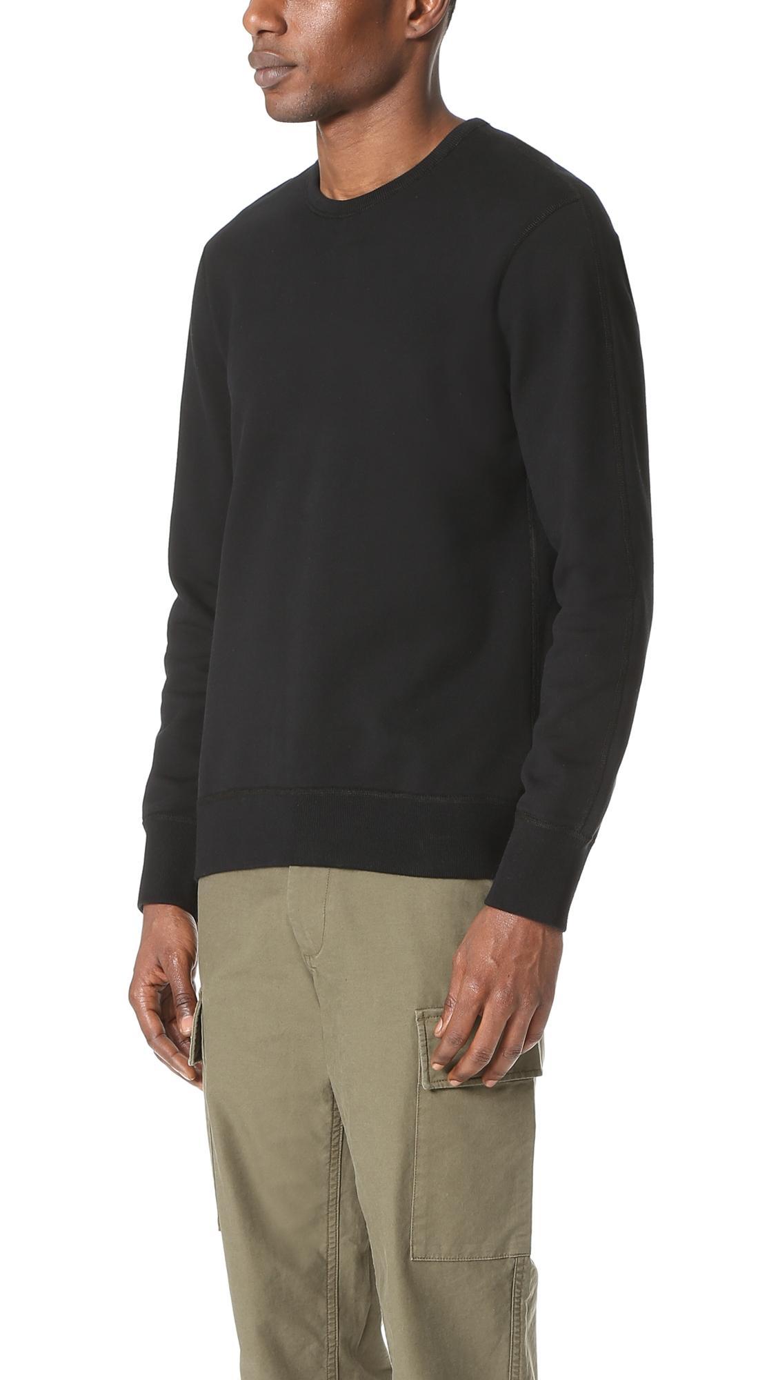 Reigning Champ Cotton Mid Weight Terry Side Zip Crew Sweatshirt in Black for Men