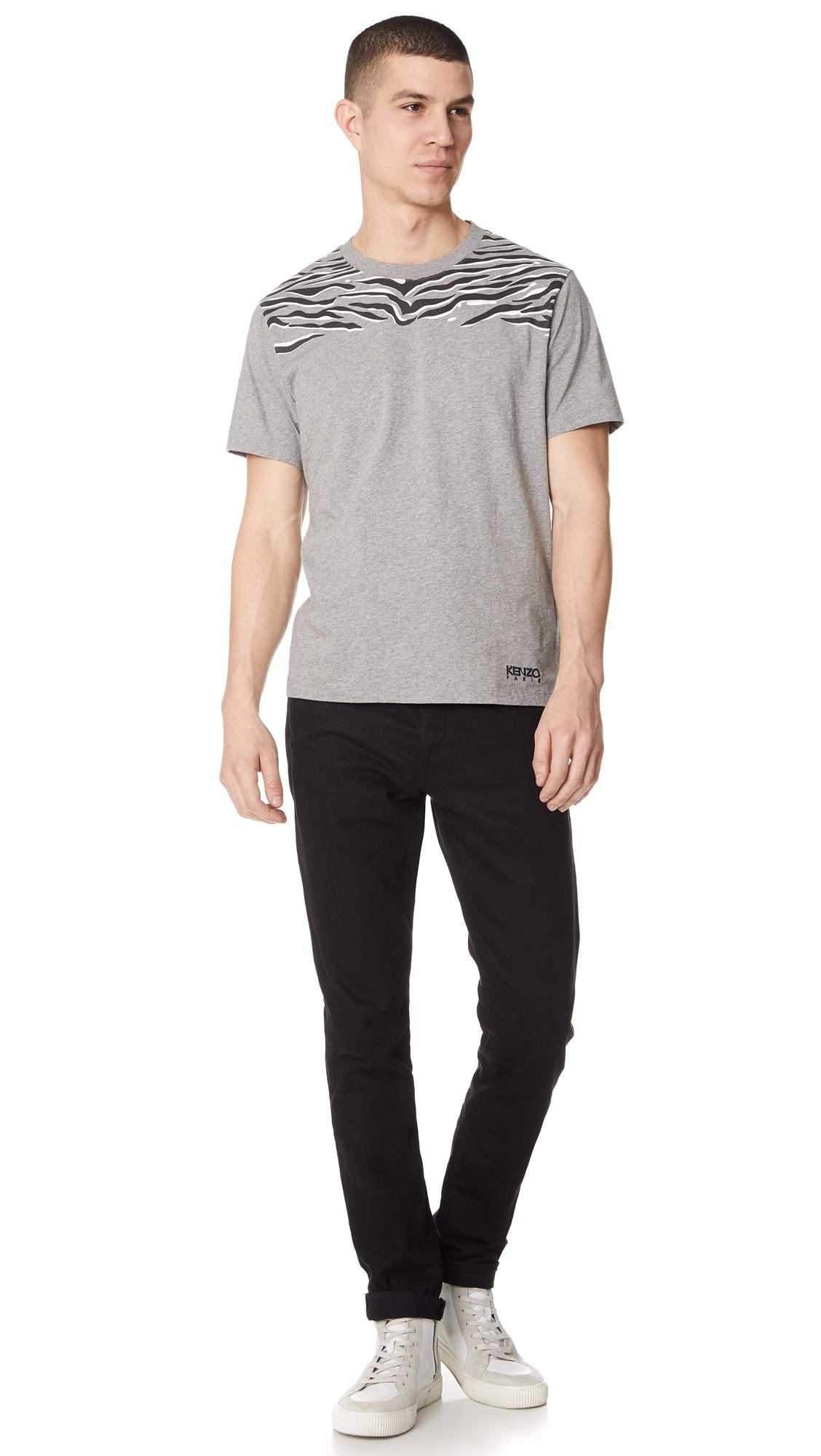 KENZO Cotton Claw Tiger Tee in Grey for Men