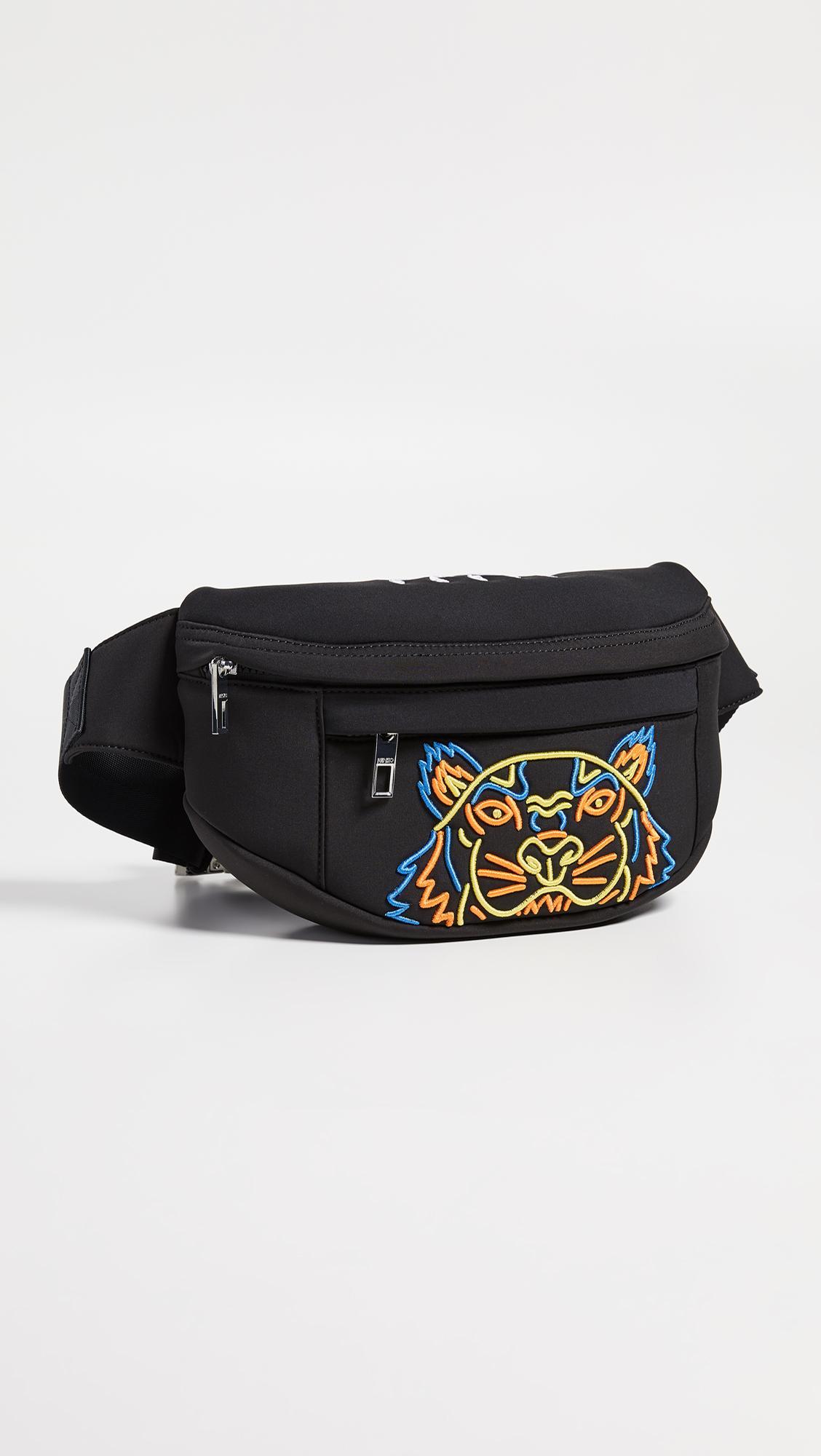 9a84f497 KENZO Black Neon Tiger Bum Bag for men