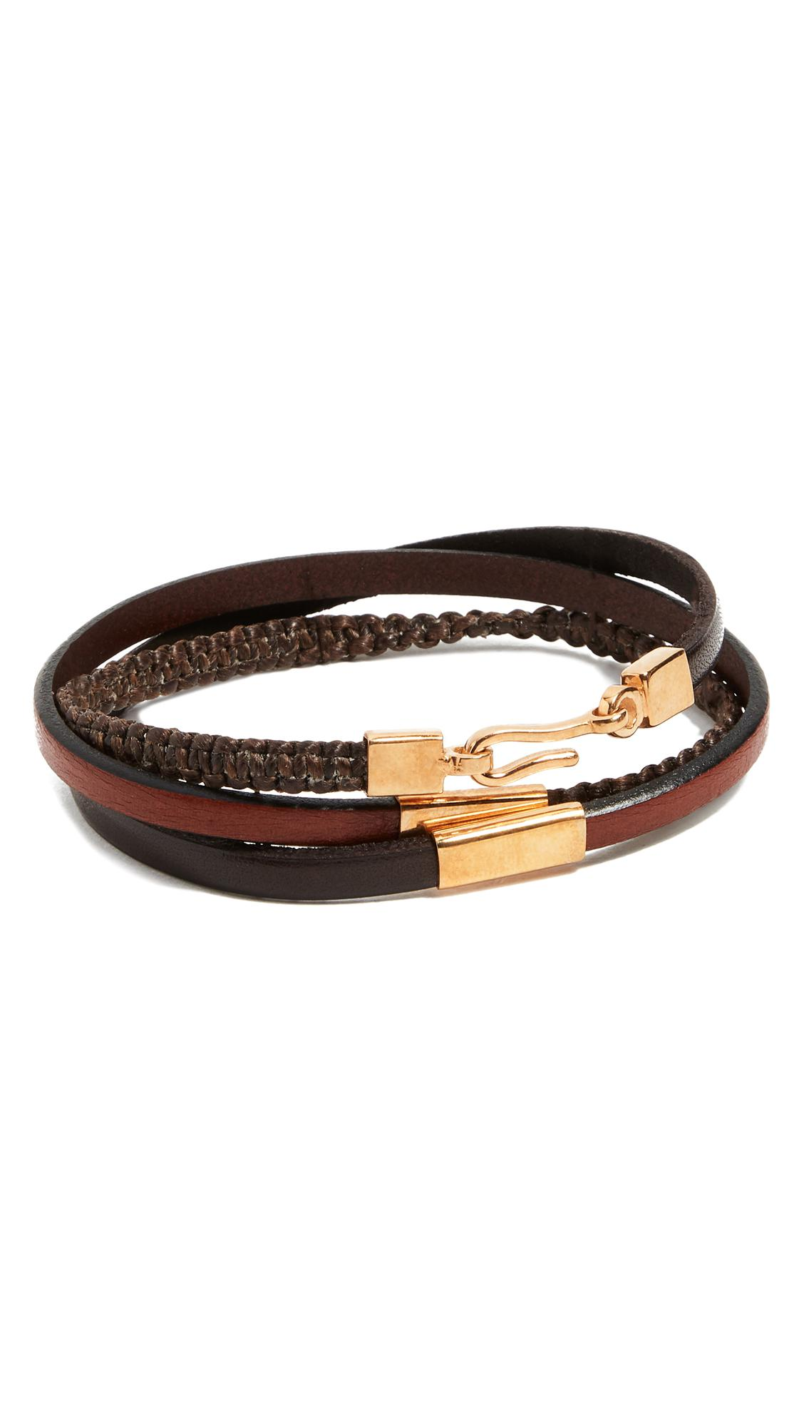 Caputo & Co. Hand Knotted Triple Wrap Bracelet - Dark Brown qKKCiu1mM